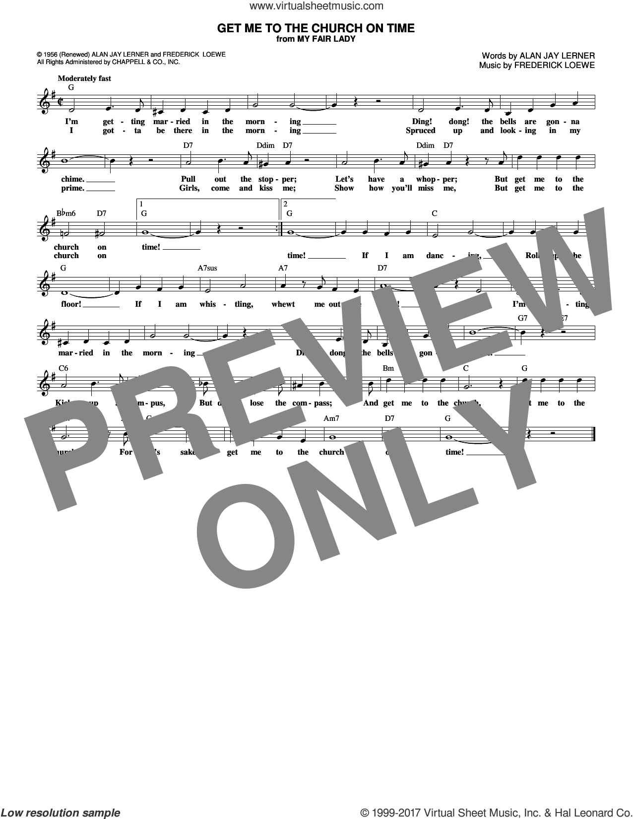 Get Me To The Church On Time sheet music for voice and other instruments (fake book) by Alan Jay Lerner and Frederick Loewe. Score Image Preview.