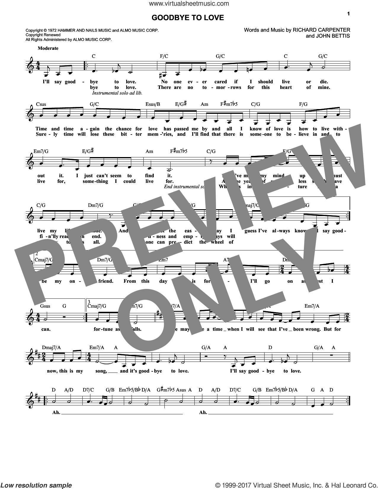 Goodbye To Love sheet music for voice and other instruments (fake book) by John Bettis and Carpenters, intermediate. Score Image Preview.