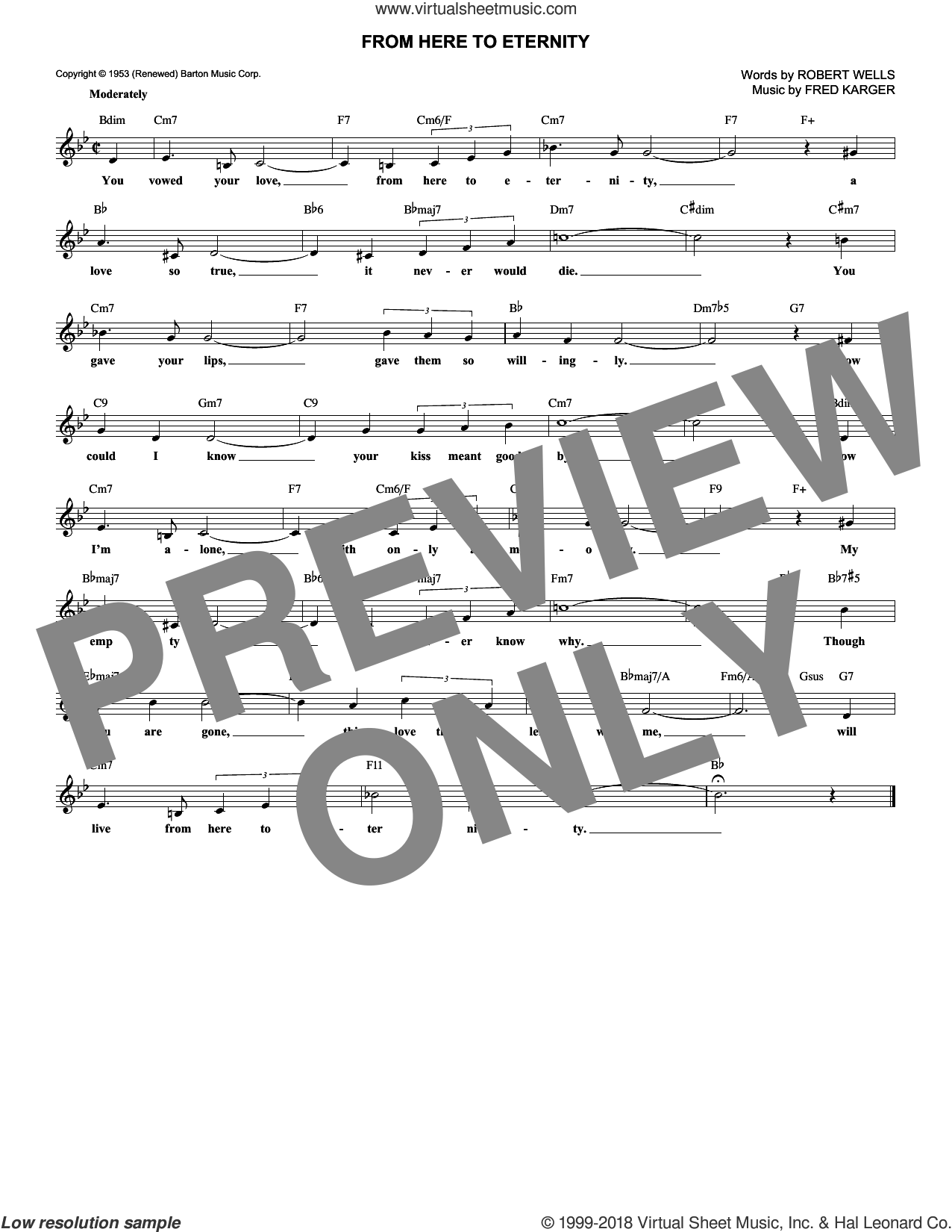 From Here To Eternity sheet music for voice and other instruments (fake book) by Frank Sinatra, Fred Karger and Robert Wells, intermediate skill level