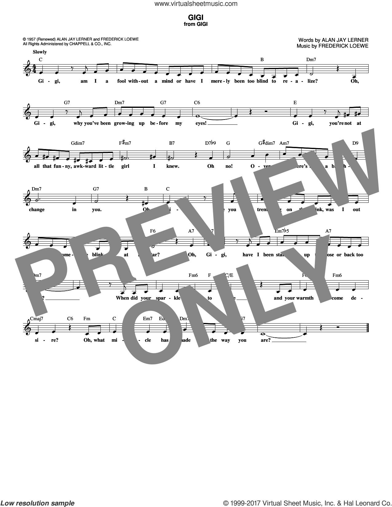 Gigi sheet music for voice and other instruments (fake book) by Alan Jay Lerner and Frederick Loewe, intermediate skill level