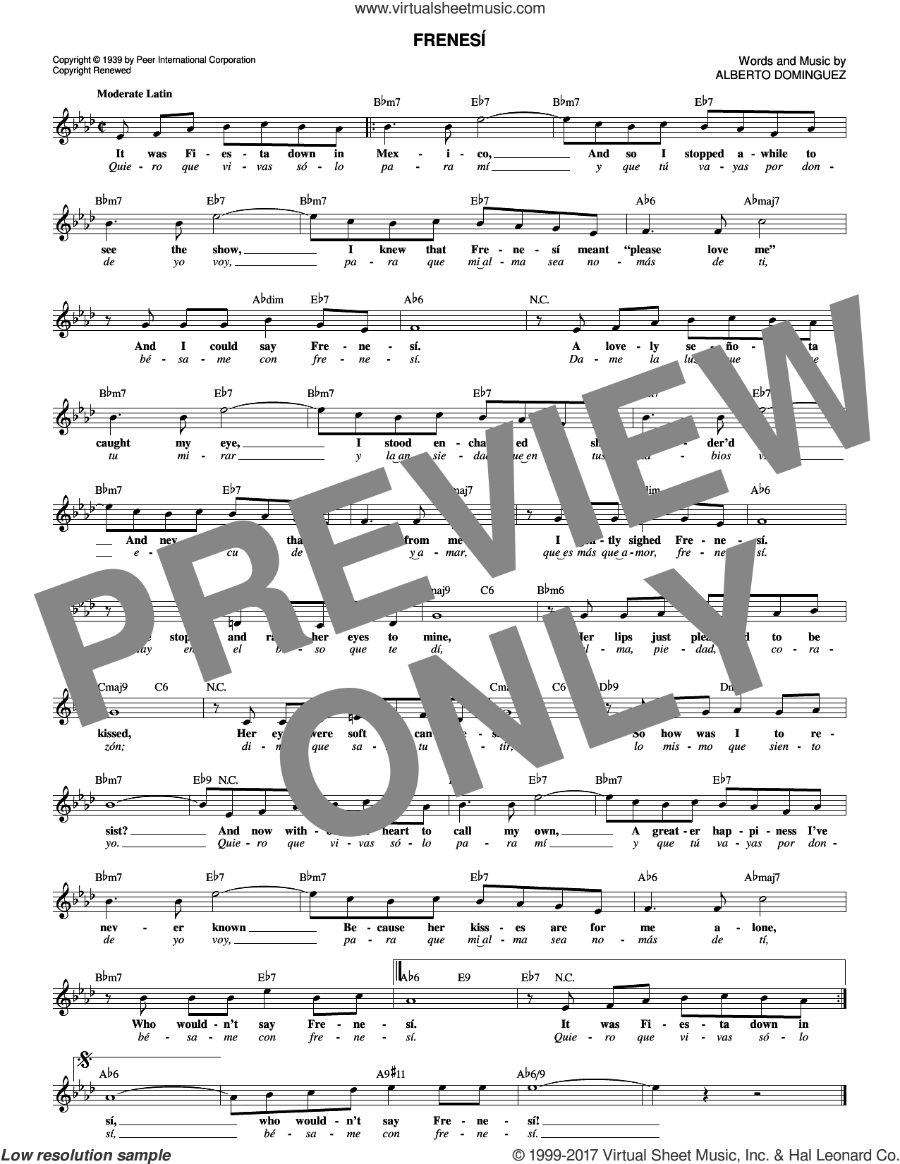 Frenesi sheet music for voice and other instruments (fake book) by Artie Shaw and Alberto Dominguez, intermediate skill level
