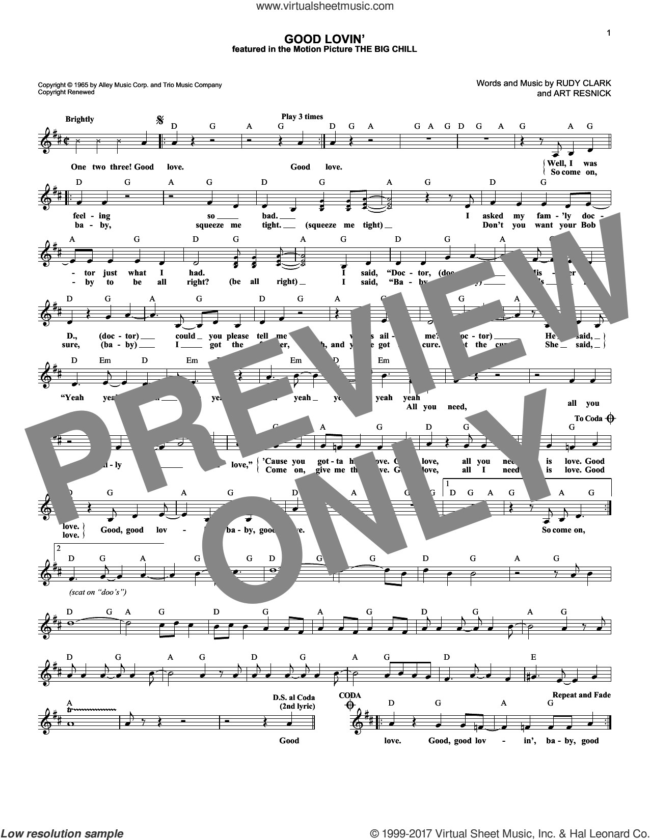 Good Lovin' sheet music for voice and other instruments (fake book) by Rudy Clark. Score Image Preview.