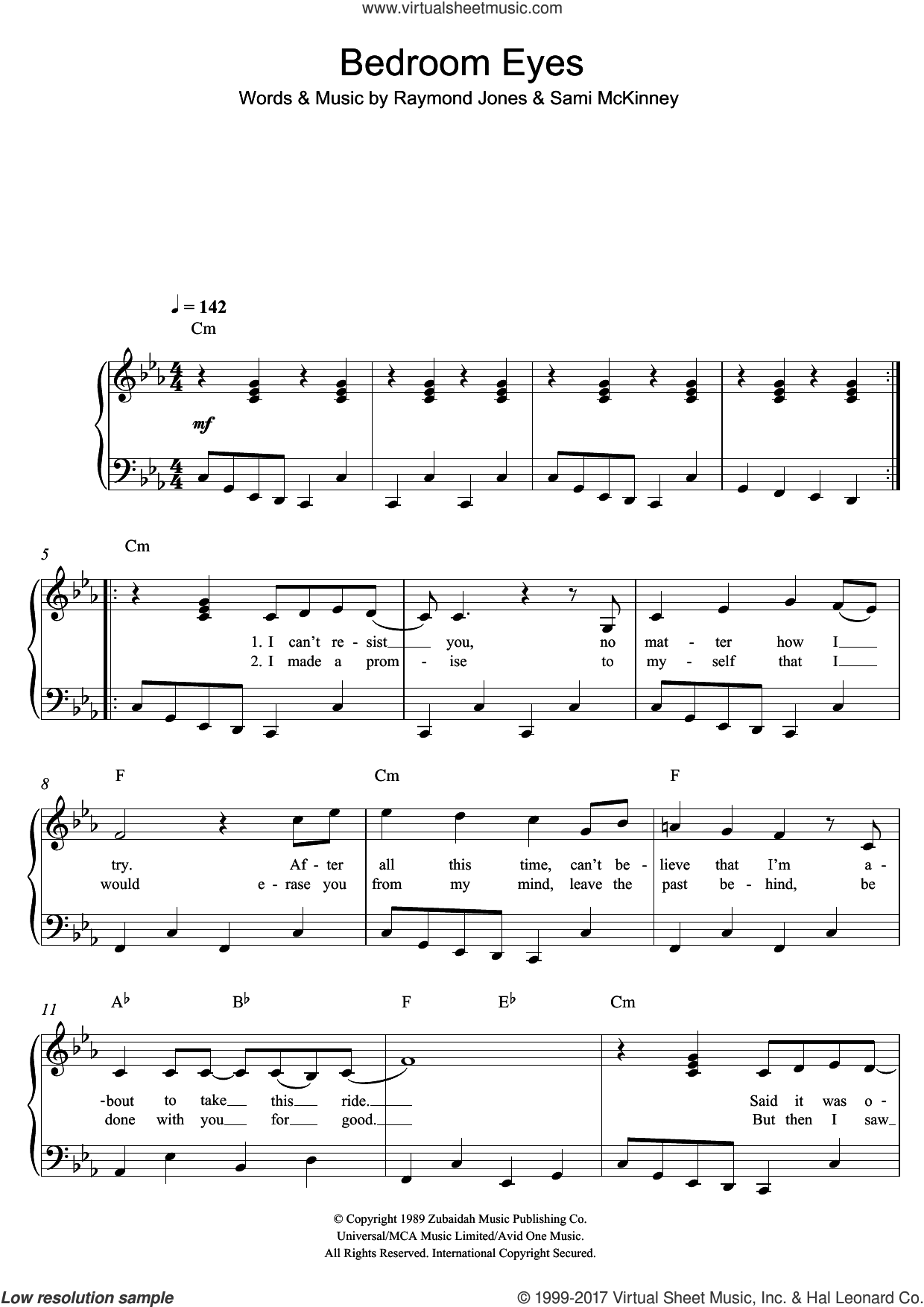 Bedroom Eyes sheet music for piano solo by Sami McKinney. Score Image Preview.
