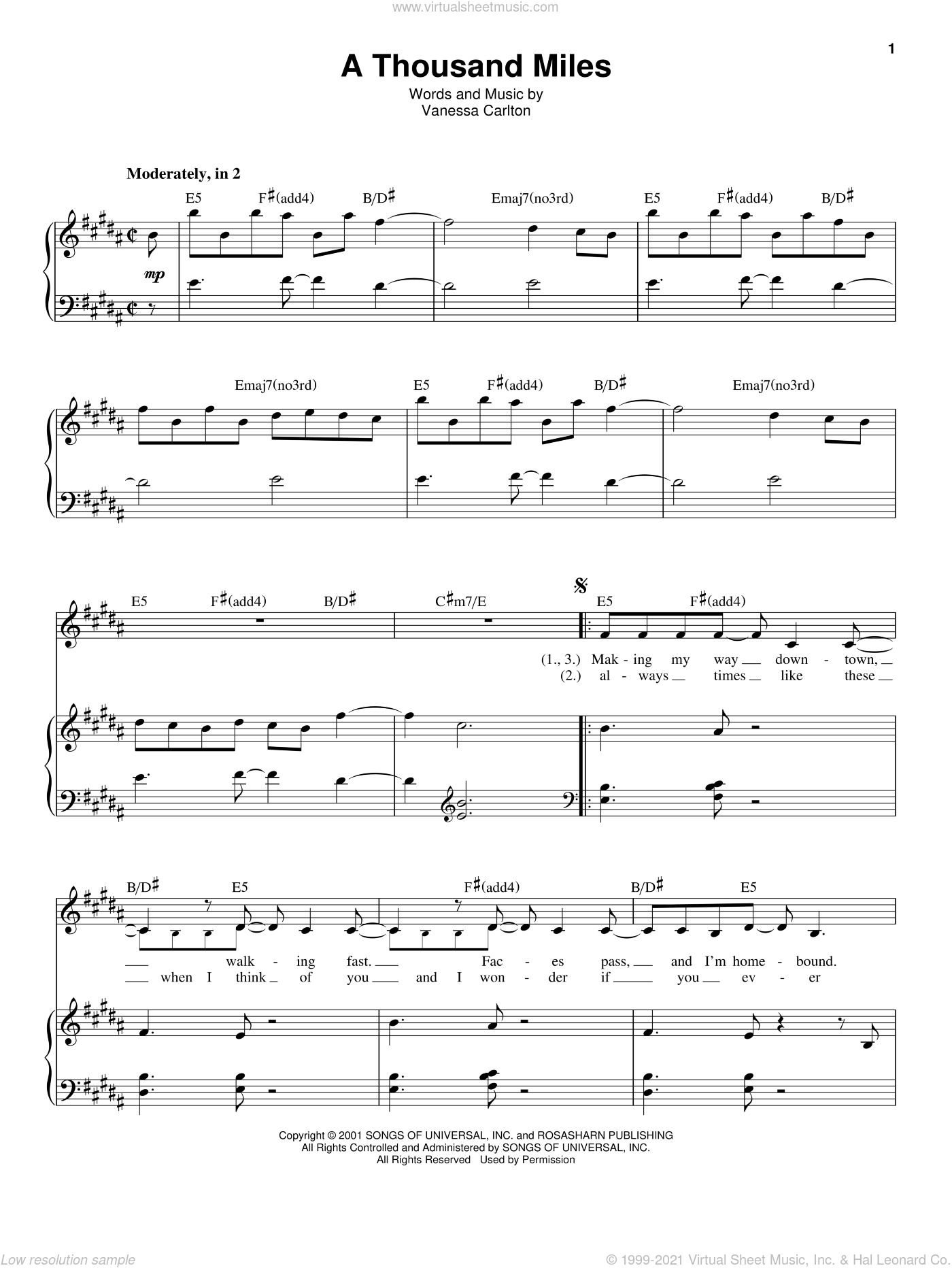 A Thousand Miles sheet music for voice and piano by Vanessa Carlton, intermediate skill level