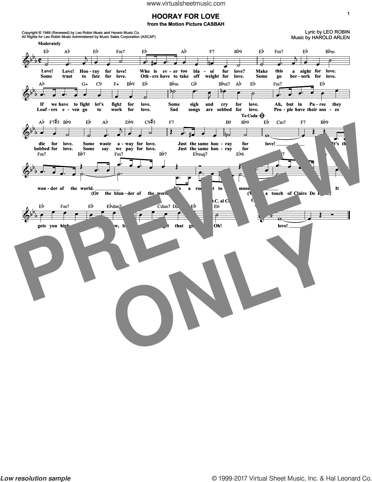 Hooray For Love sheet music for voice and other instruments (fake book) by Harold Arlen and Leo Robin, intermediate skill level