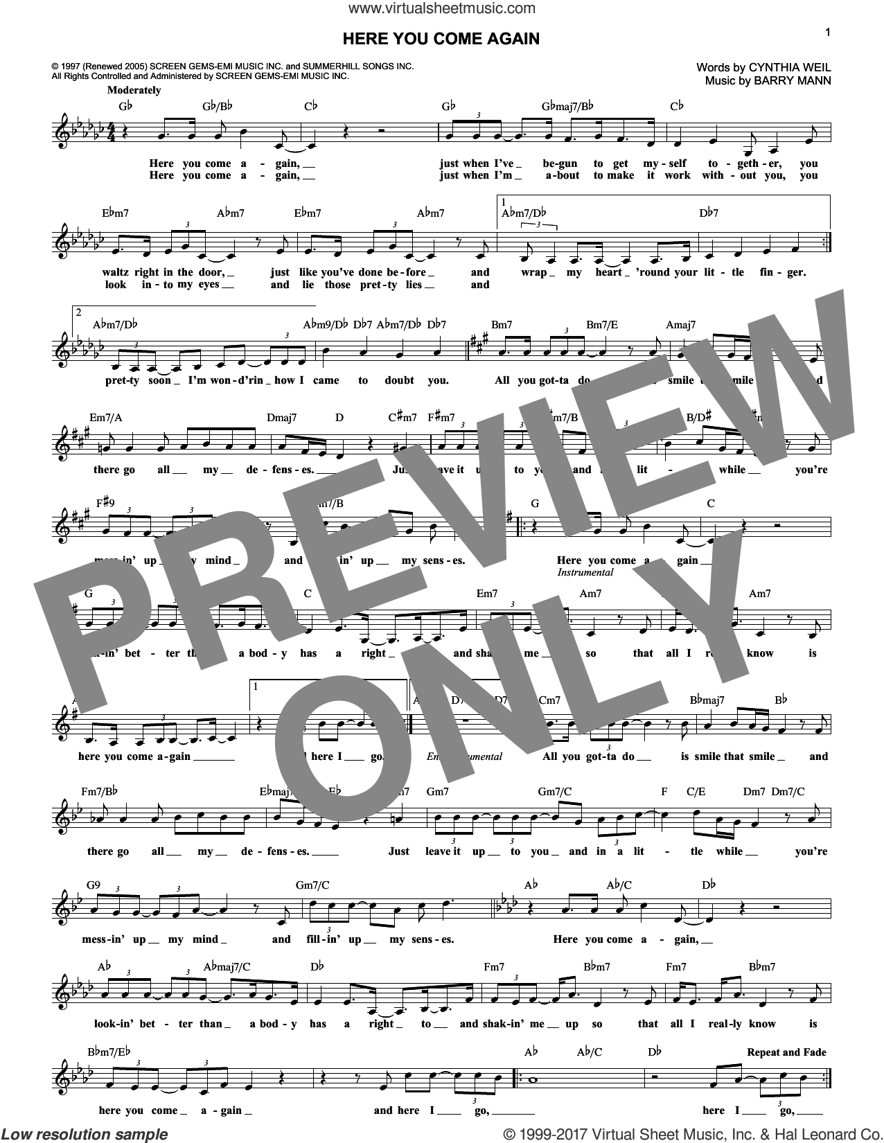 Here You Come Again sheet music for voice and other instruments (fake book) by Dolly Parton, Barry Mann and Cynthia Weil. Score Image Preview.