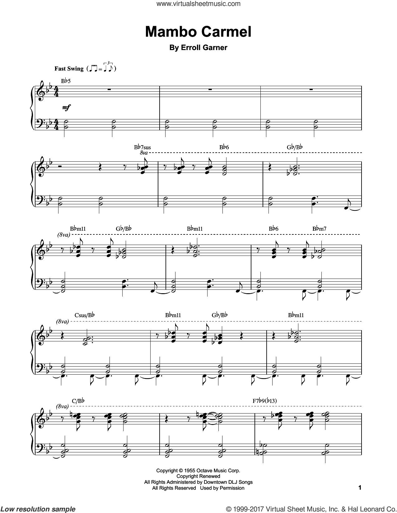 Mambo Carmel sheet music for piano solo (transcription) by Erroll Garner, intermediate piano (transcription)