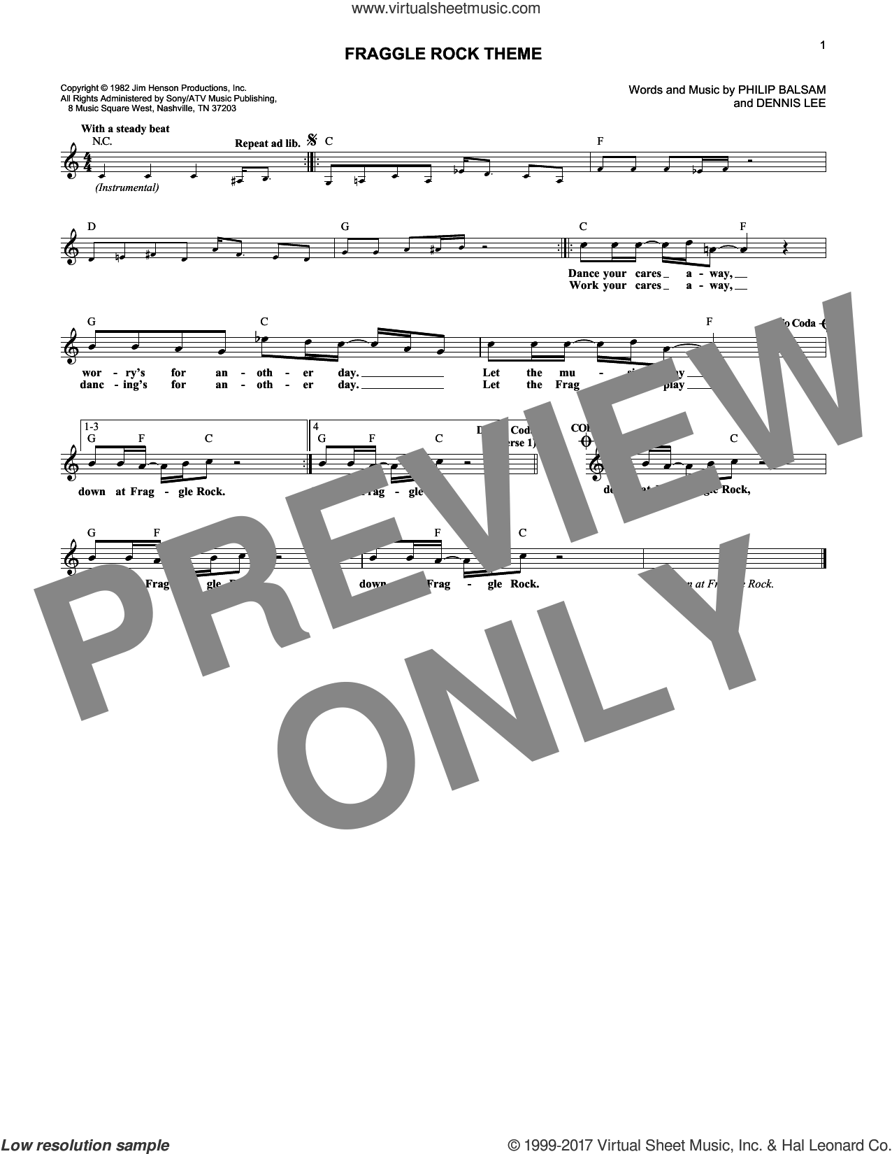 Fraggle Rock Theme sheet music for voice and other instruments (fake book) by Dennis Beynon Lee and Philip Balsam, intermediate. Score Image Preview.
