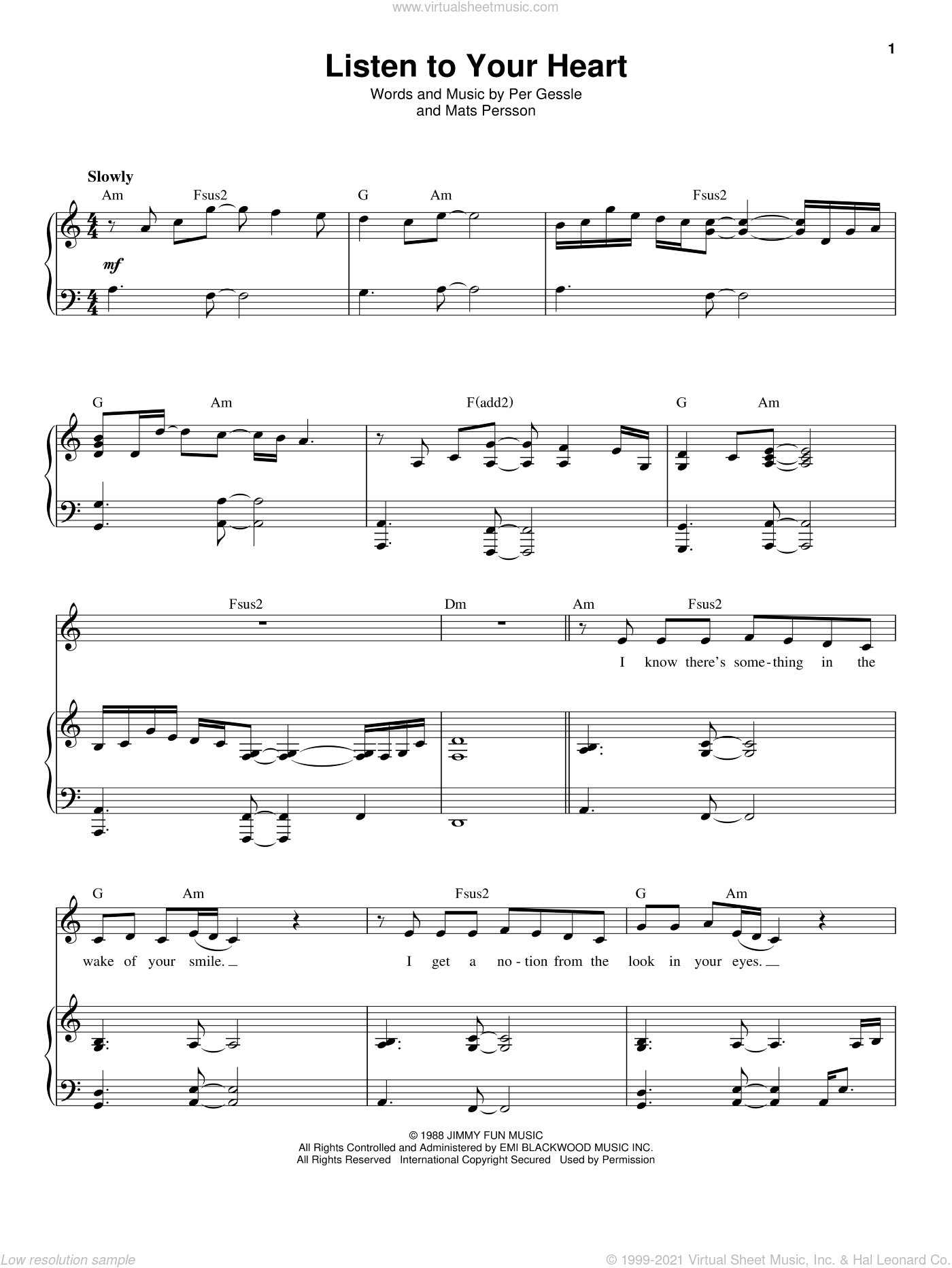 Listen To Your Heart sheet music for voice and piano by D.H.T., Roxette, Mats Persson and Per Gessle, intermediate. Score Image Preview.