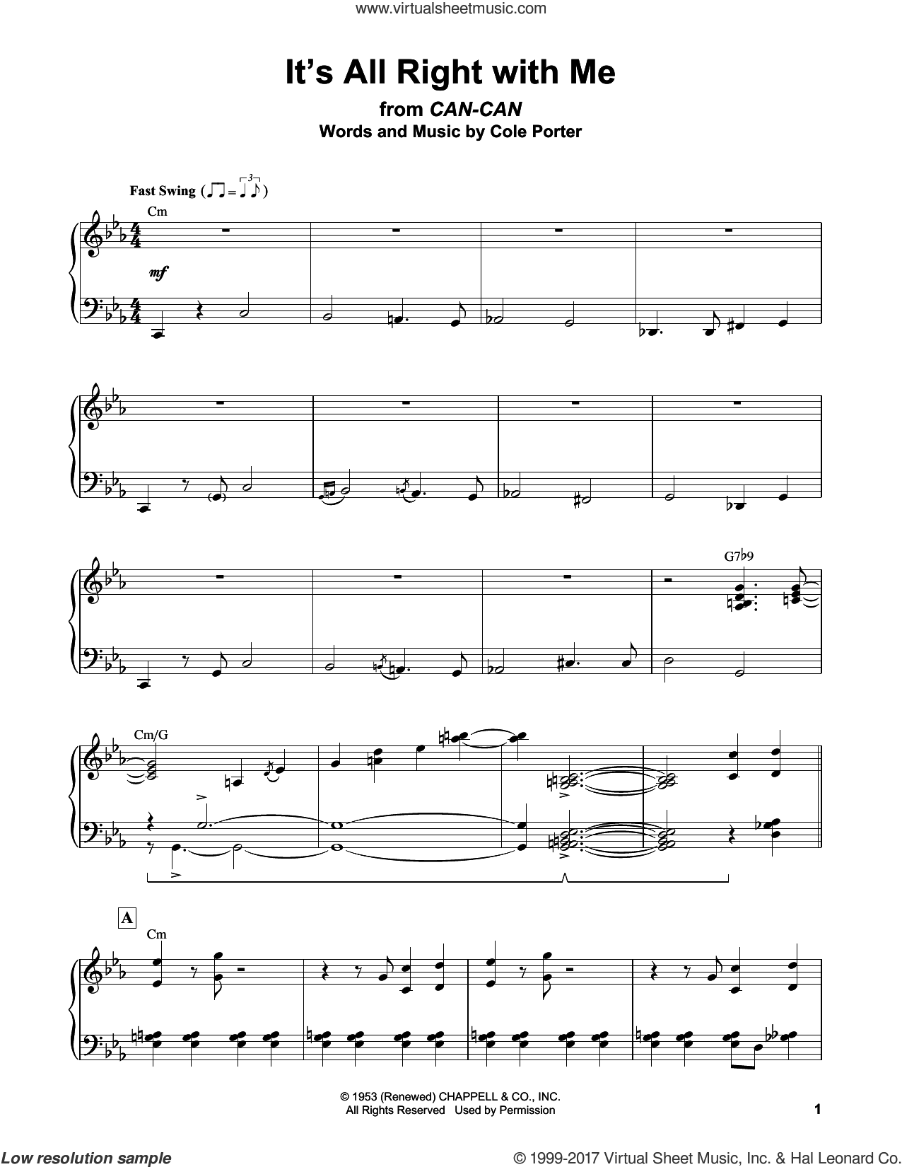 It's All Right With Me sheet music for piano solo (transcription) by Erroll Garner and Cole Porter, intermediate piano (transcription)