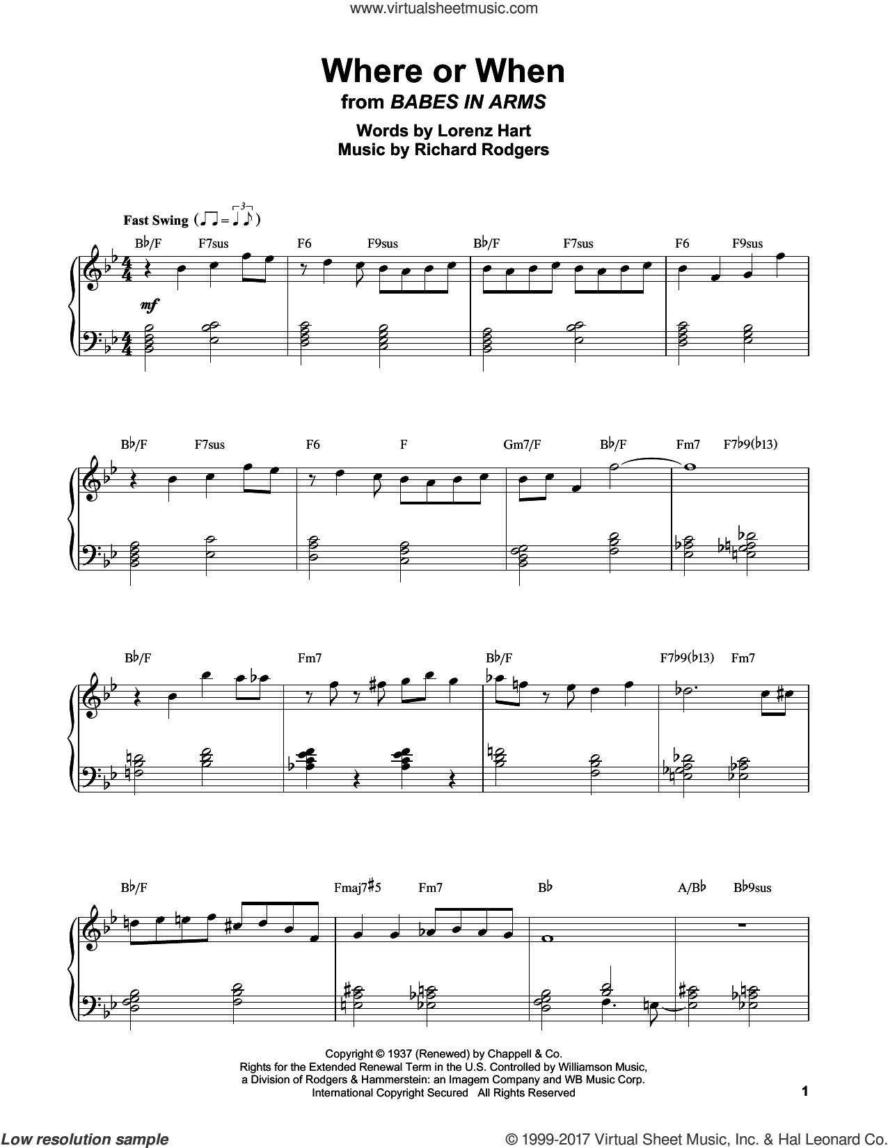 Where Or When sheet music for piano solo (transcription) by Erroll Garner, Lorenz Hart and Richard Rodgers. Score Image Preview.
