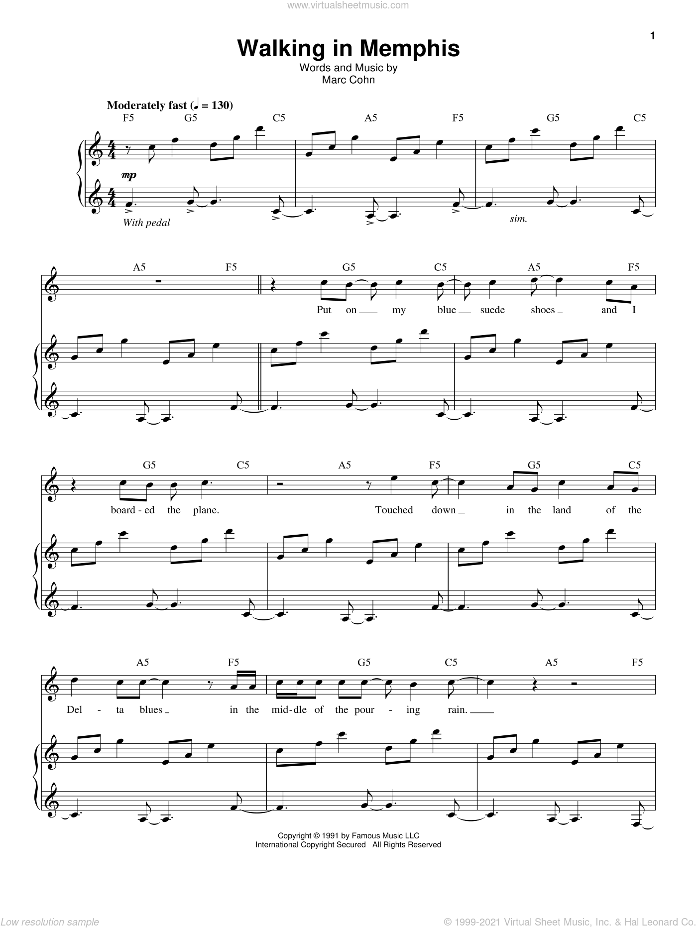Walking In Memphis sheet music for voice and piano by Marc Cohn, intermediate skill level