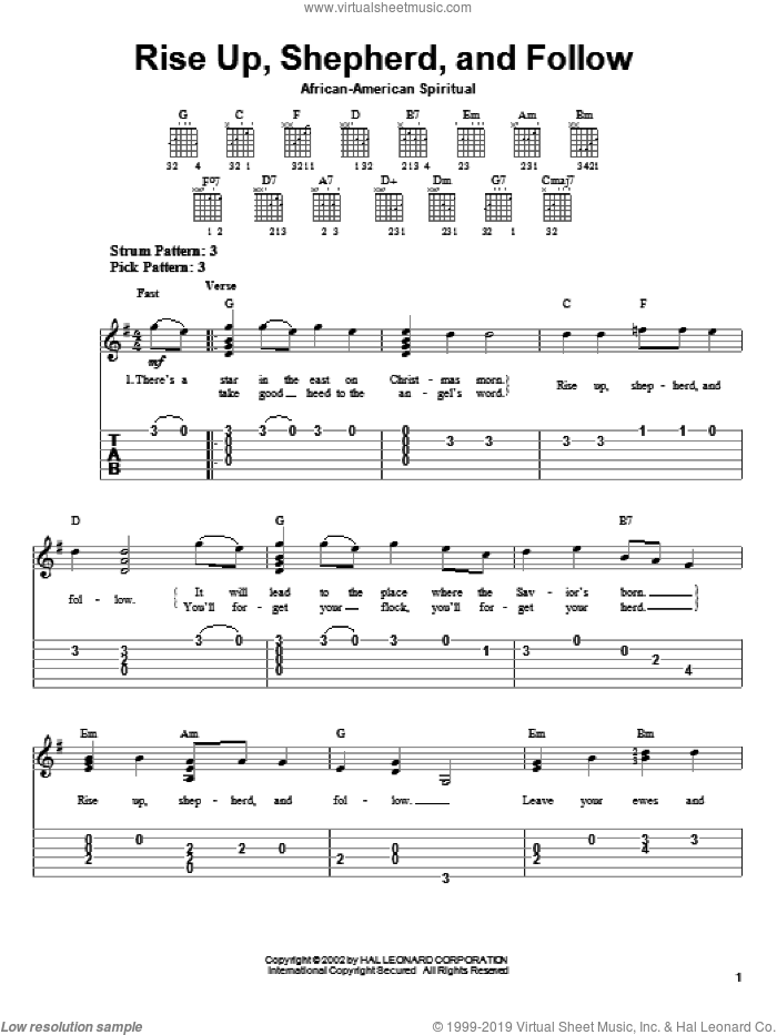 Rise Up, Shepherd, And Follow sheet music for guitar solo (easy tablature), easy guitar (easy tablature)