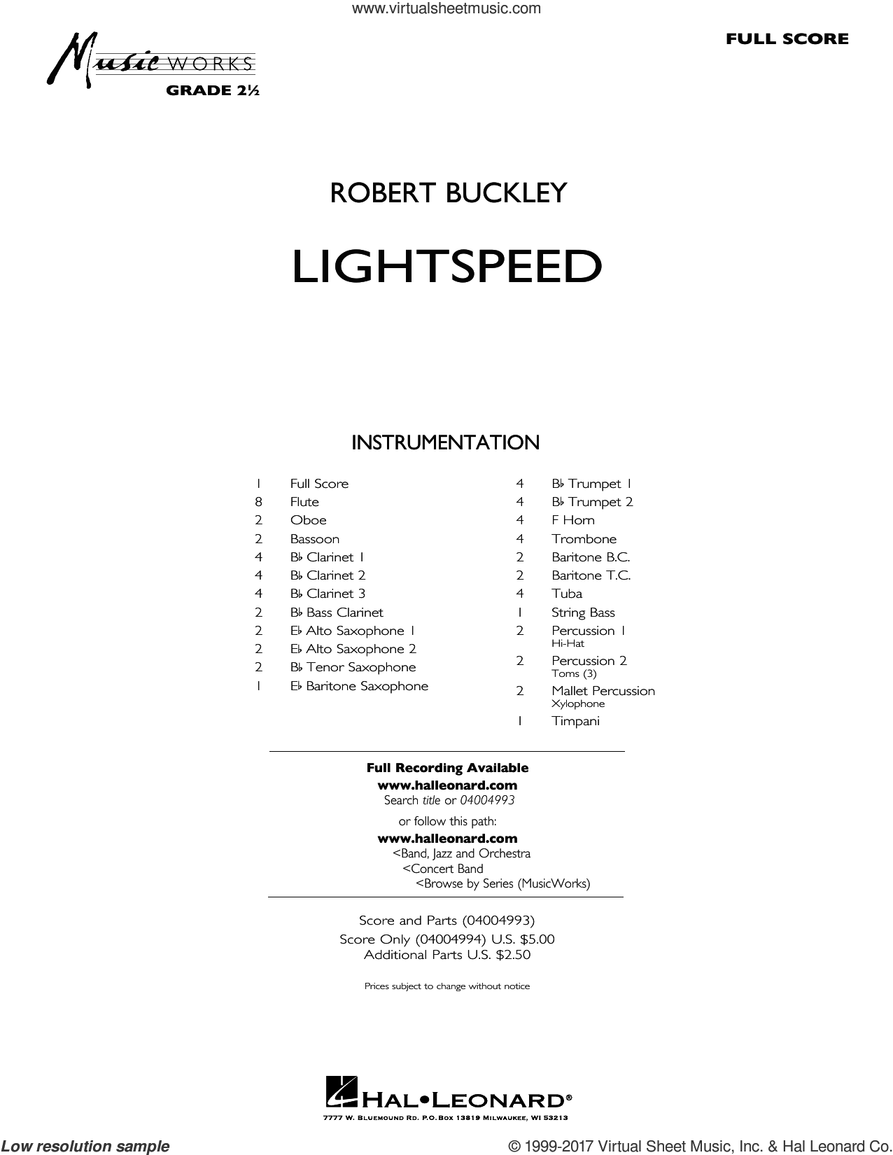 Lightspeed (COMPLETE) sheet music for concert band by Robert Buckley, intermediate. Score Image Preview.