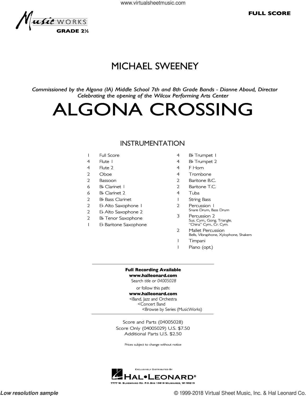 Algona Crossing (COMPLETE) sheet music for concert band by Michael Sweeney, intermediate concert band. Score Image Preview.