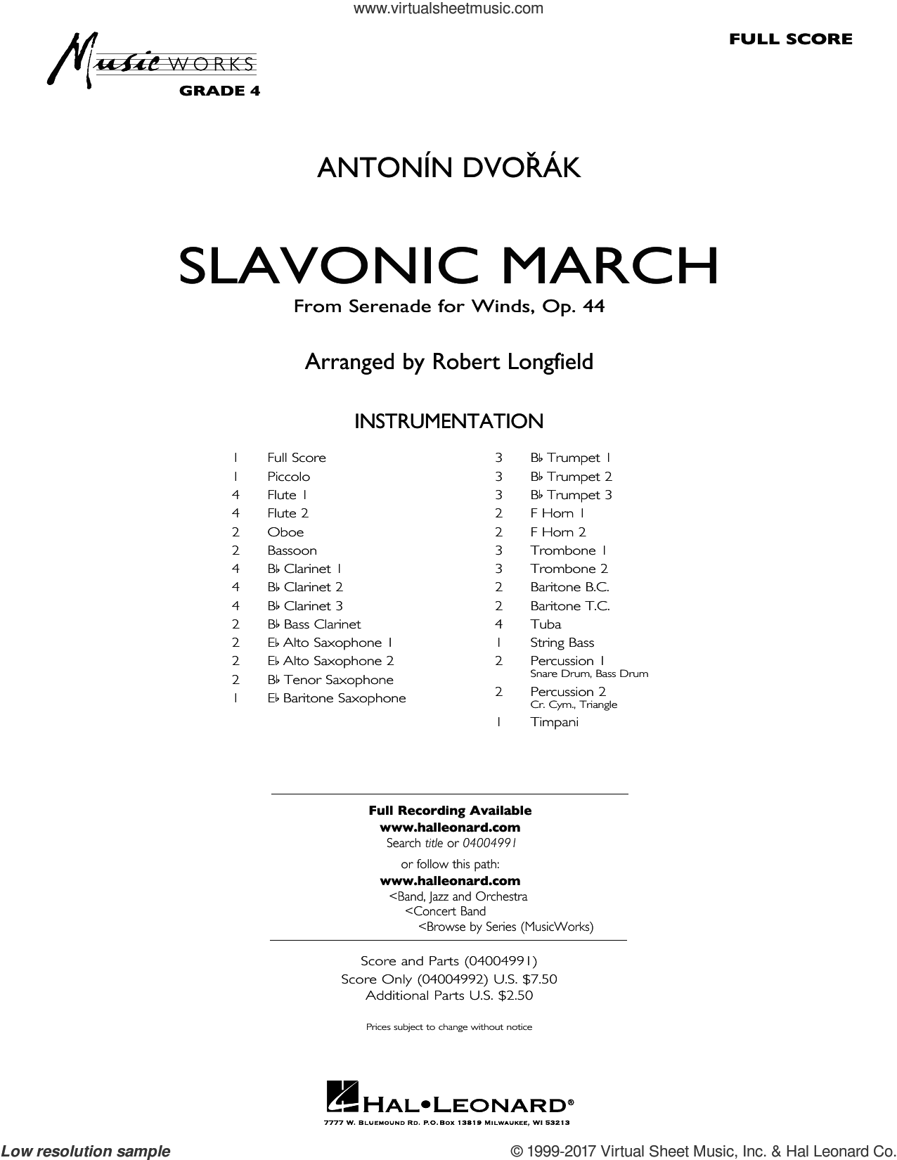 Slavonic March (from Serenade for Winds, Op. 44) (COMPLETE) sheet music for concert band by Robert Longfield and Antonin Dvorak, classical score, intermediate