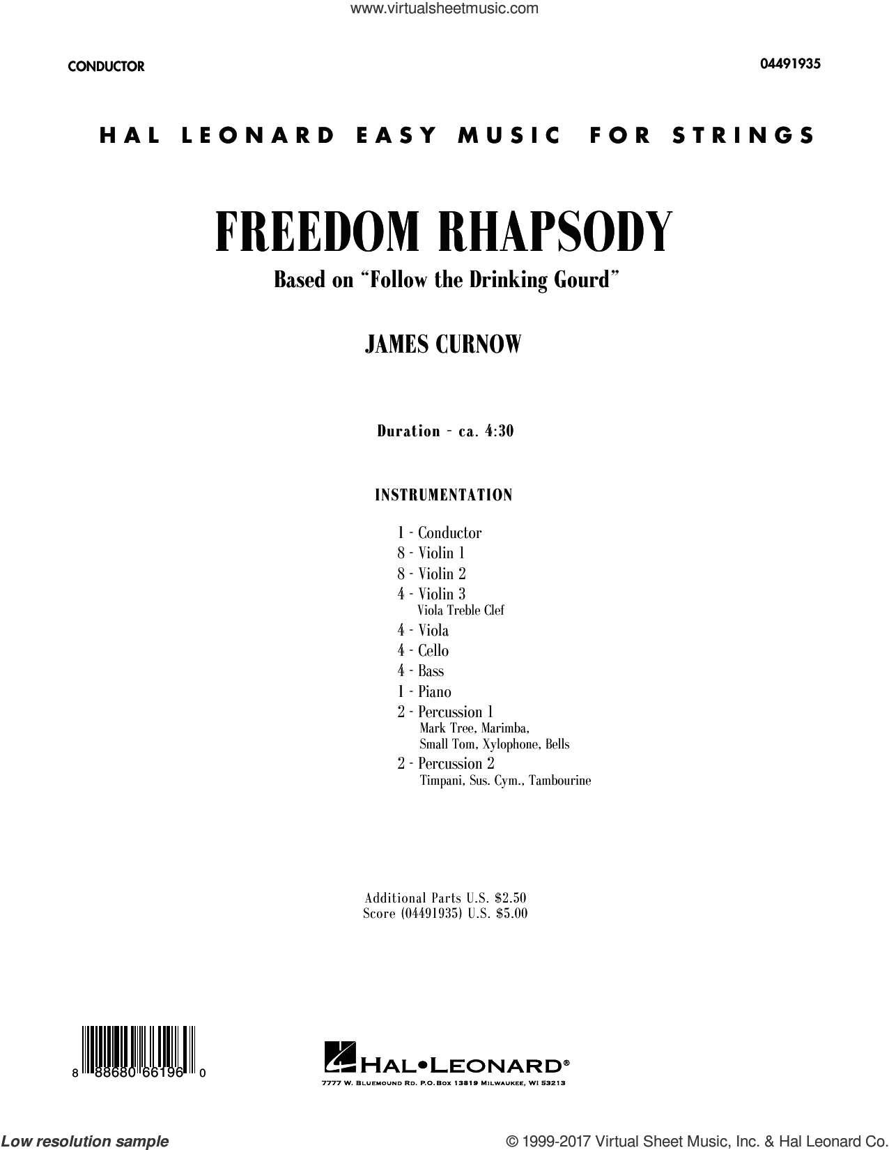 Freedom Rhapsody (based on 'Follow the Drinking Gourd') (COMPLETE) sheet music for orchestra by James Curnow, intermediate