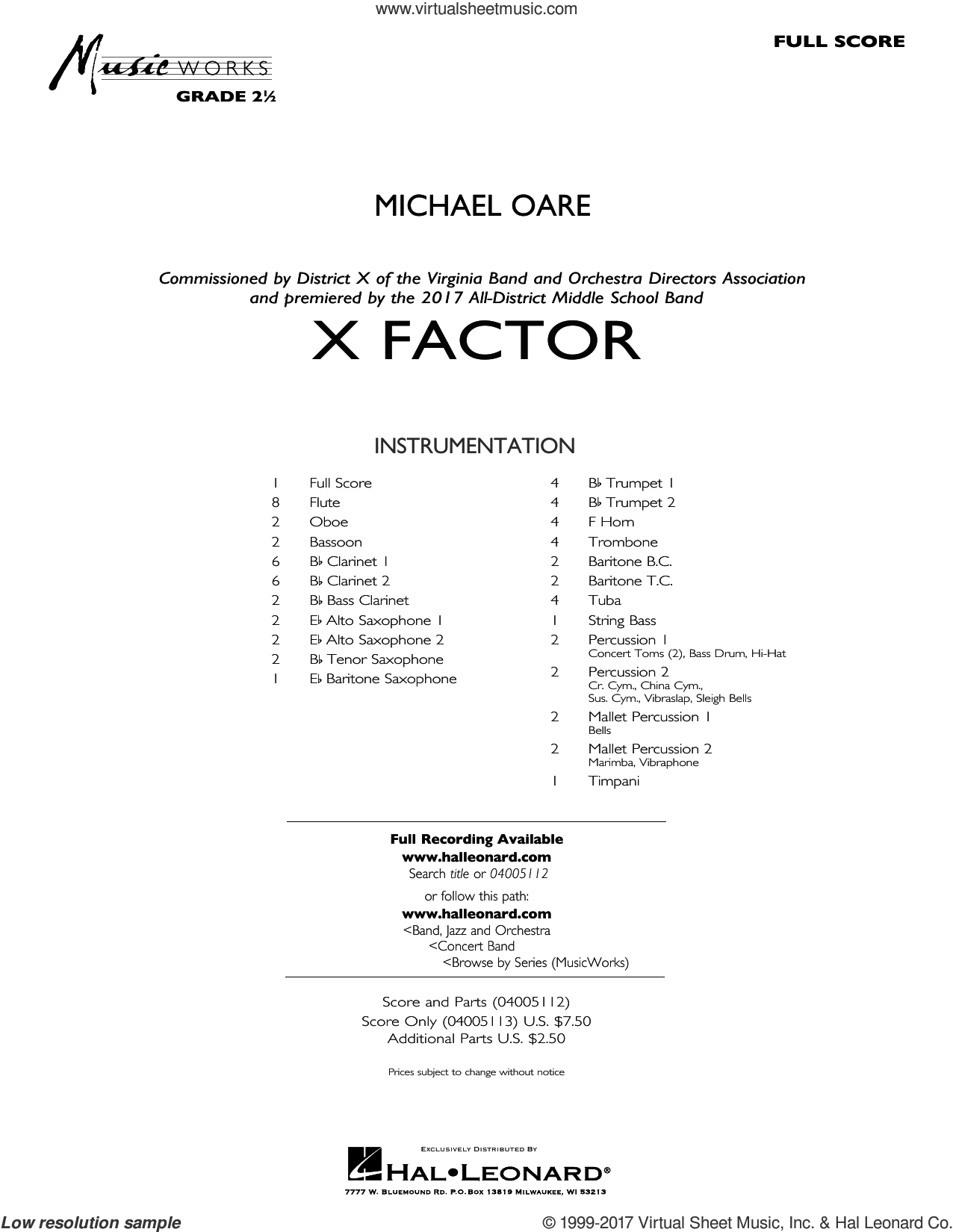 X Factor (COMPLETE) sheet music for concert band by Michael Oare, intermediate. Score Image Preview.