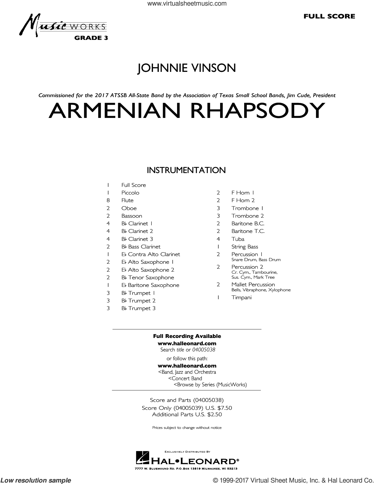 Armenian Rhapsody (COMPLETE) sheet music for concert band by Johnnie Vinson, intermediate concert band. Score Image Preview.