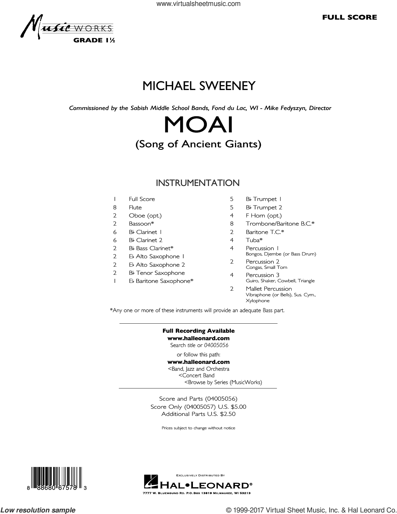 Moai (Songs of Ancient Giants) (COMPLETE) sheet music for concert band by Michael Sweeney, intermediate. Score Image Preview.