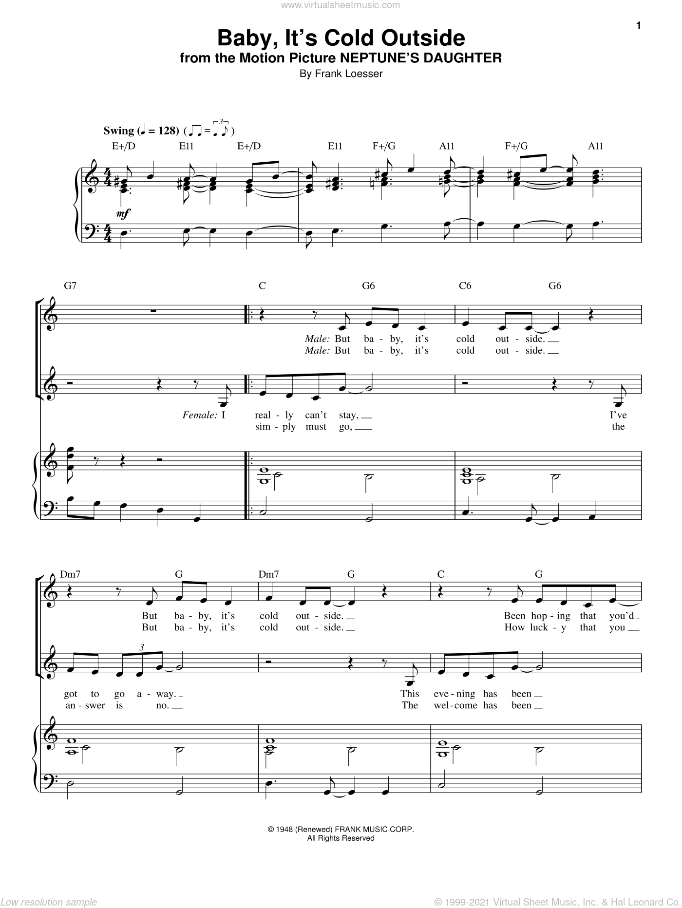 Baby, It's Cold Outside sheet music for voice and piano by Tom Jones & Cerys Matthews, Louis Armstrong and Frank Loesser, intermediate skill level