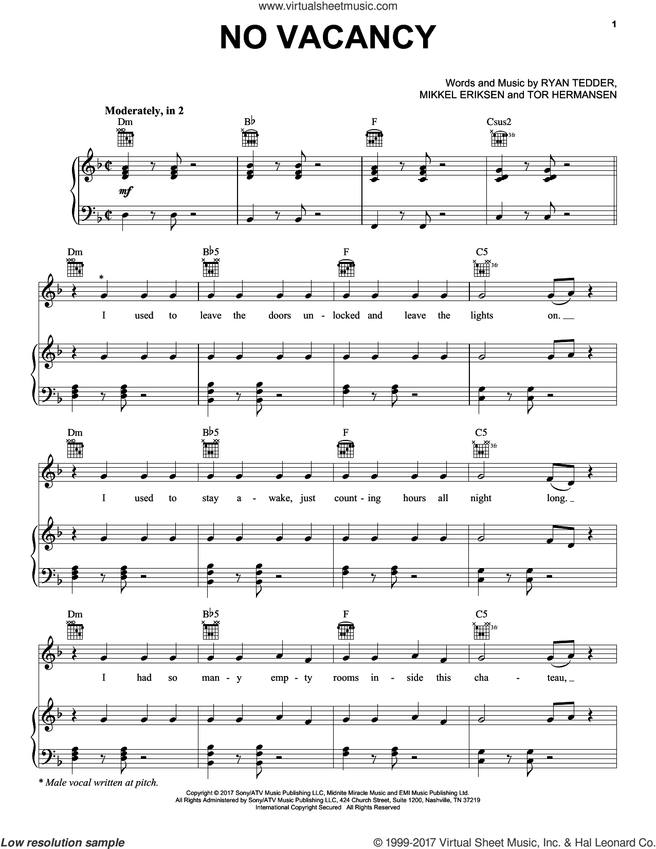 No Vacancy sheet music for voice, piano or guitar by Tor Erik Hermansen, One Republic, Mikkel Eriksen and Ryan Tedder. Score Image Preview.