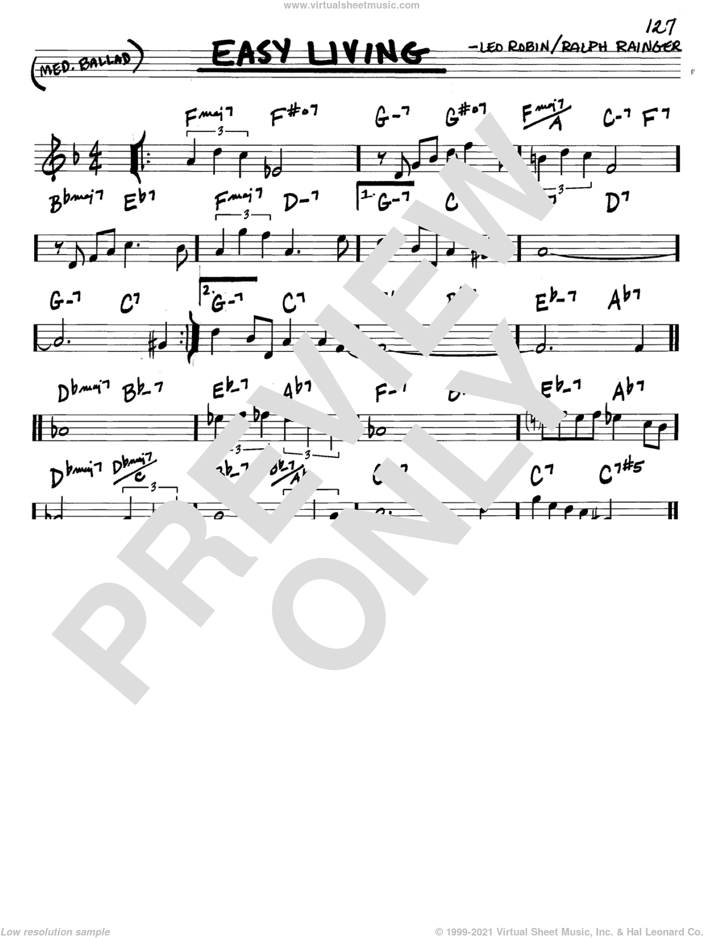 Easy Living sheet music for voice and other instruments (in C) by Billie Holiday, Leo Robin and Ralph Rainger, intermediate skill level