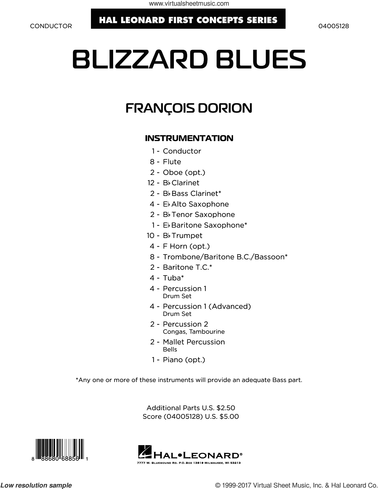 Blizzard Blues (COMPLETE) sheet music for concert band by Francois Dorion, intermediate