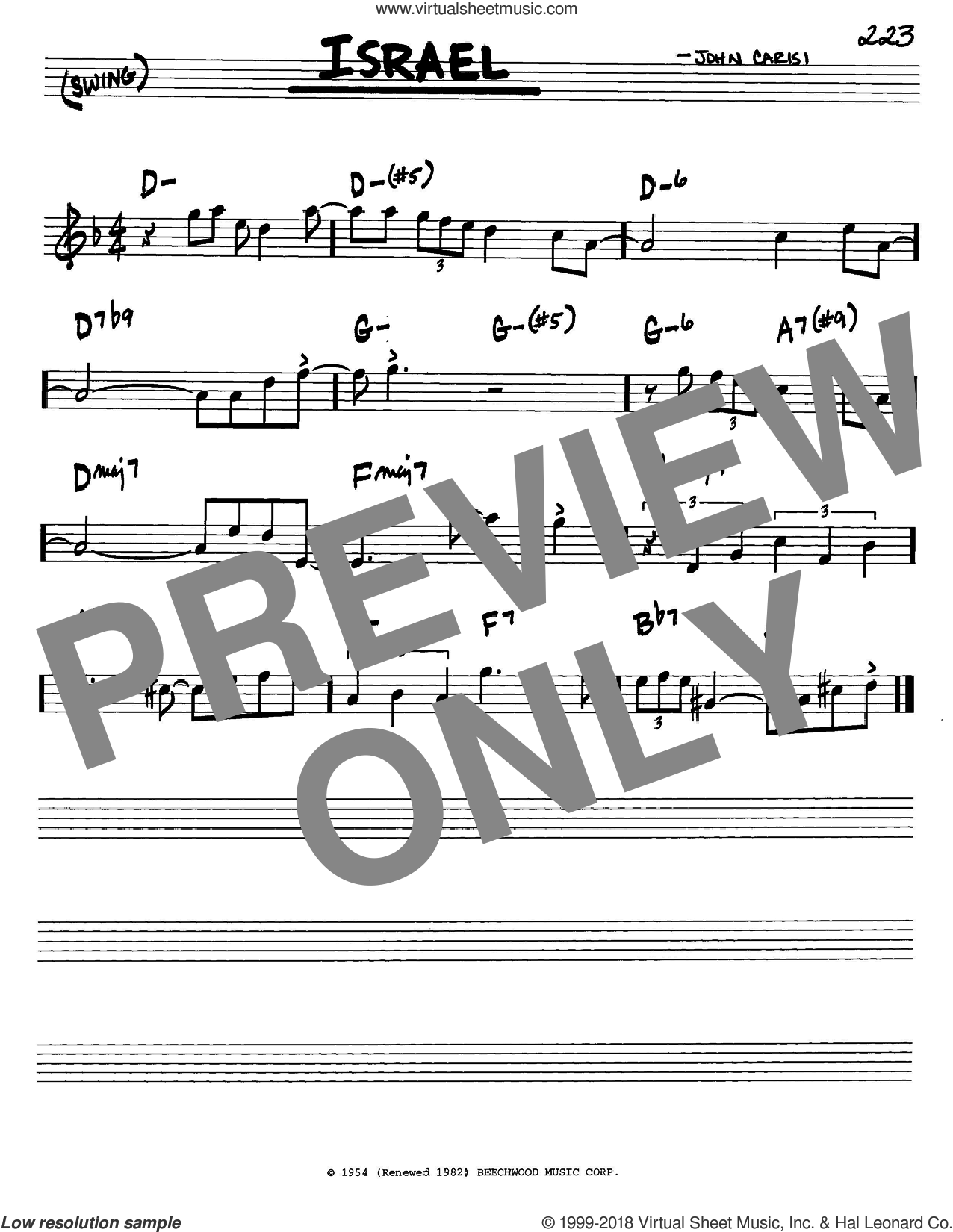 Israel sheet music for voice and other instruments (in C) by Miles Davis and John Carisi, intermediate skill level