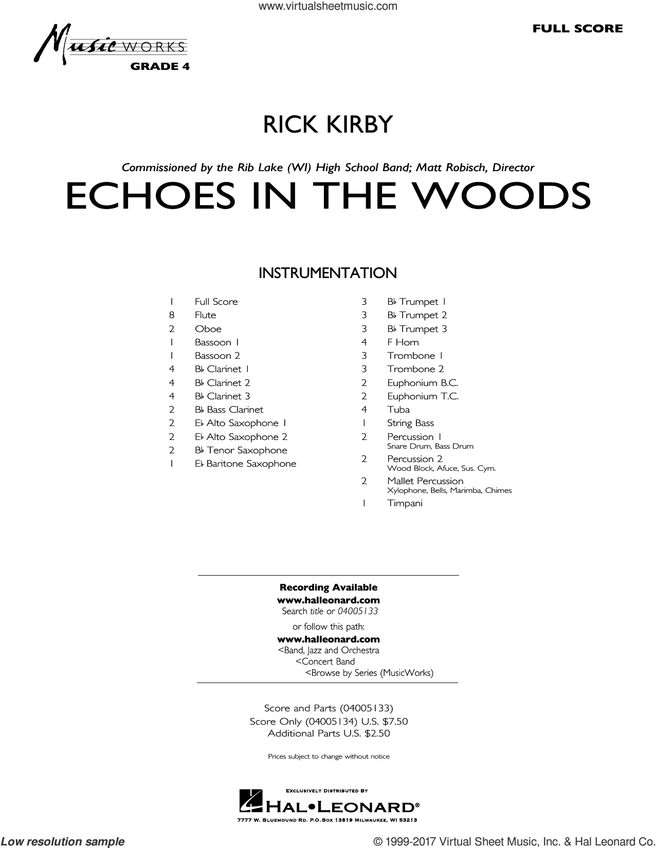 Kirby - Echoes in the Woods sheet music (complete collection) for concert  band