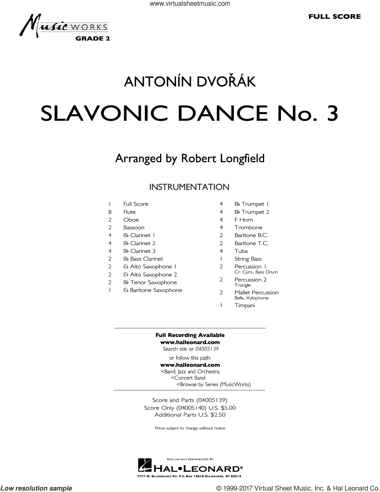 Slavonic Dance No. 3 (COMPLETE) sheet music for concert band by Robert Longfield and Antonin Dvorak and Antonin Dvorak, intermediate skill level
