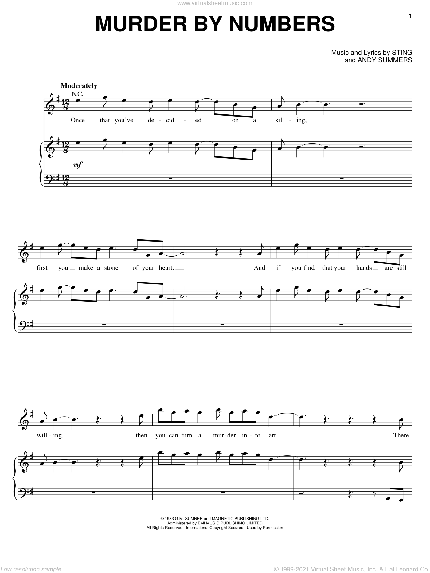 Murder By Numbers sheet music for voice, piano or guitar by The Police, Andy Summers and Sting, intermediate skill level