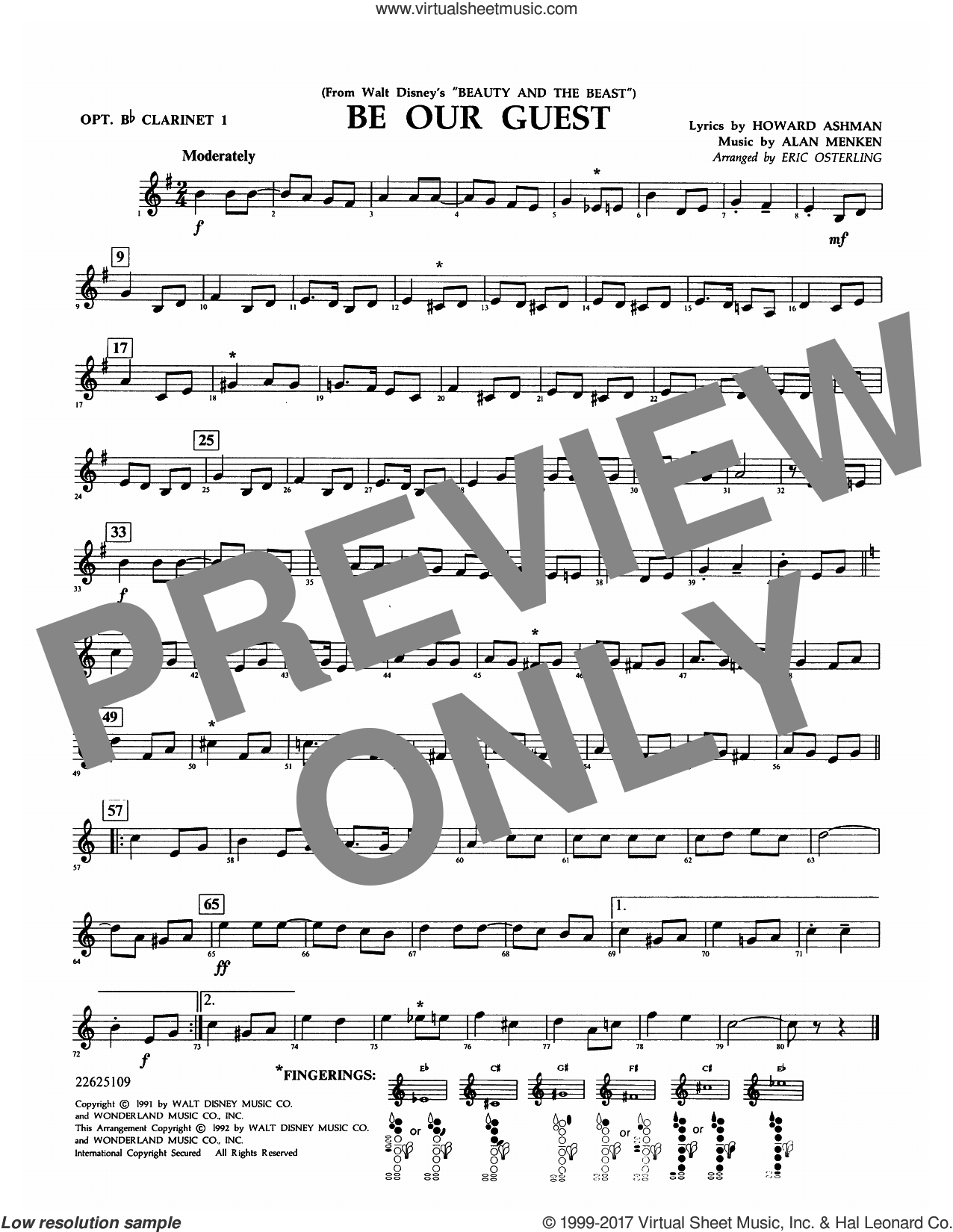 Be Our Guest (from Beauty And The Beast) (arr. Eric Osterling) sheet music for concert band (opt. Bb clarinet 1) by Alan Menken, Eric Osterling and Howard Ashman, intermediate skill level
