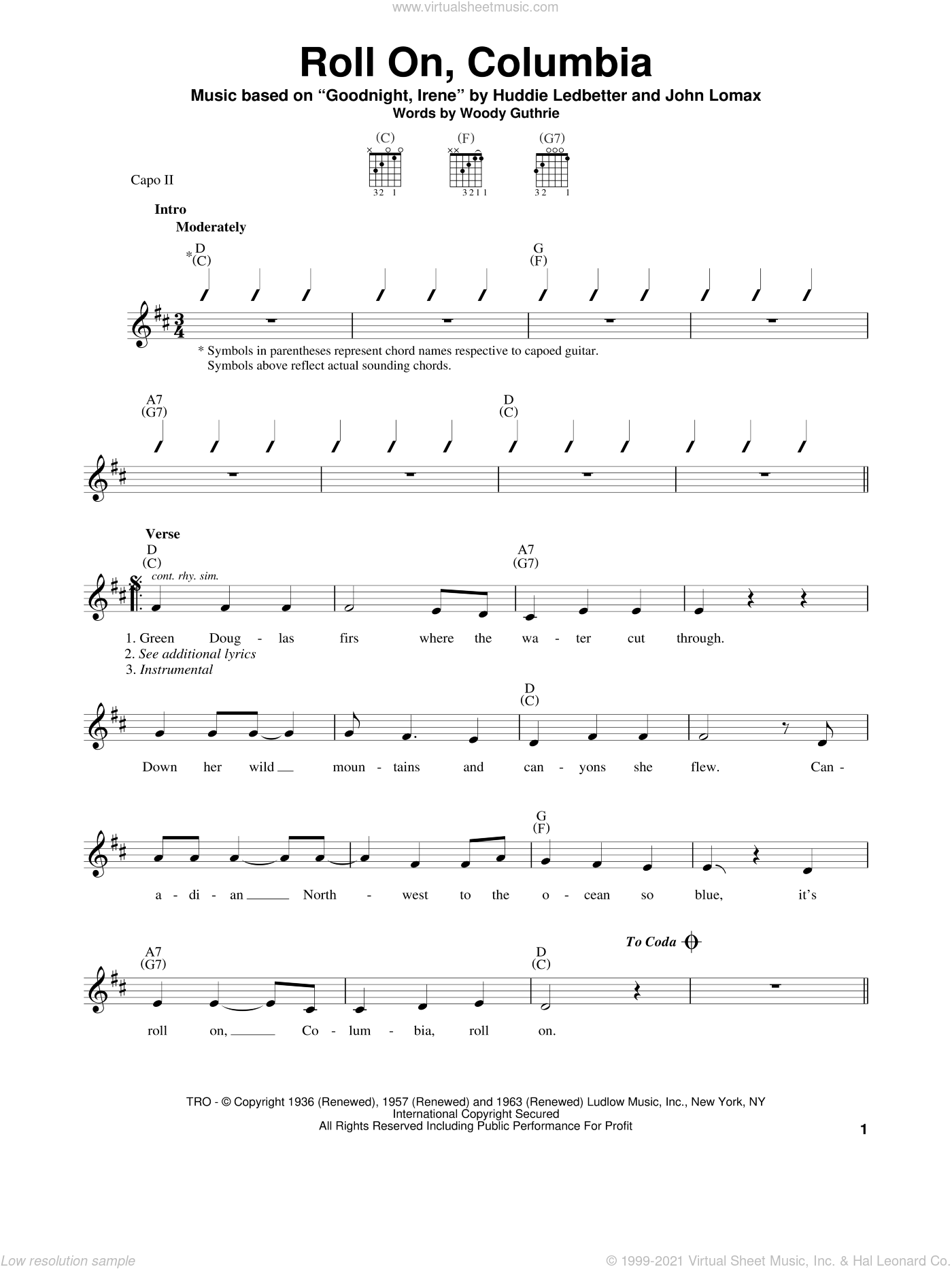 Roll On, Columbia sheet music for guitar solo (chords) by Woody Guthrie, Lead Belly, Huddie Ledbetter and John A. Lomax, easy guitar (chords)