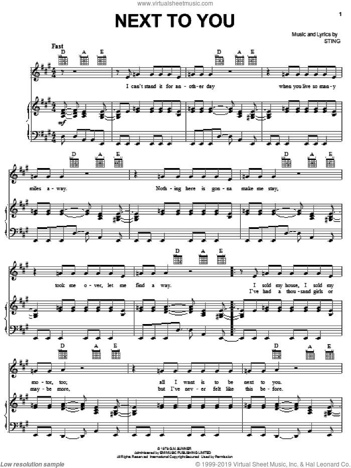 Next To You sheet music for voice, piano or guitar by The Police and Sting, intermediate skill level