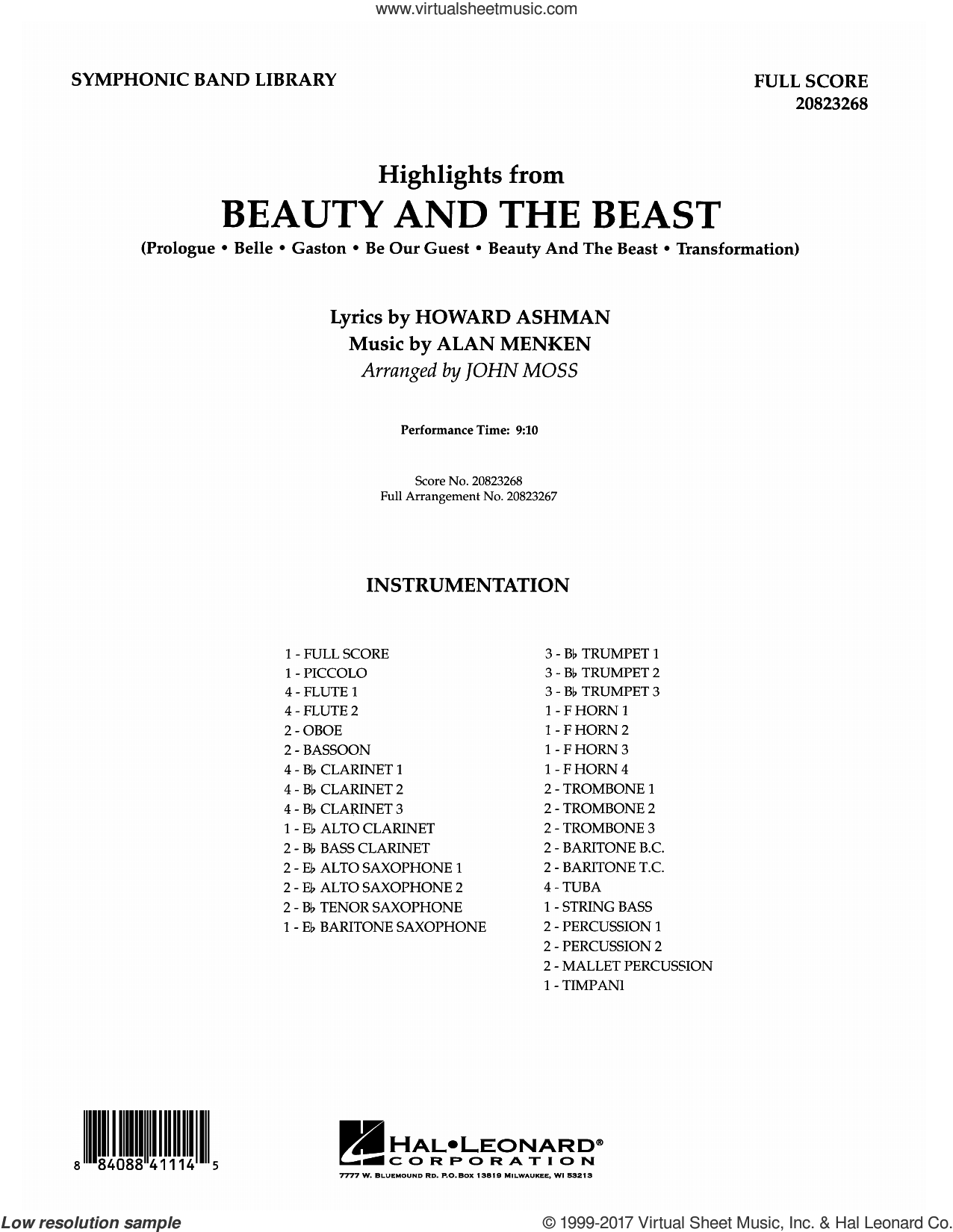 Highlights from Beauty and the Beast (COMPLETE) sheet music for concert band by John Moss, intermediate. Score Image Preview.