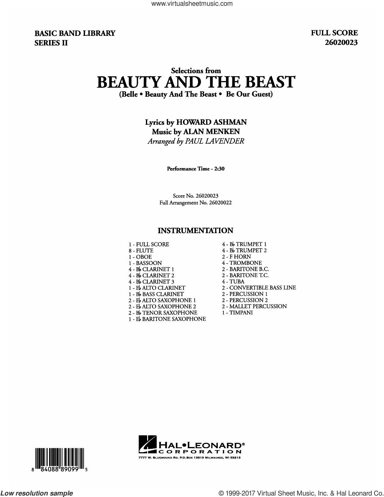 Selections from Beauty and the Beast (COMPLETE) sheet music for concert band by Alan Menken, Howard Ashman and Paul Lavender, intermediate concert band. Score Image Preview.