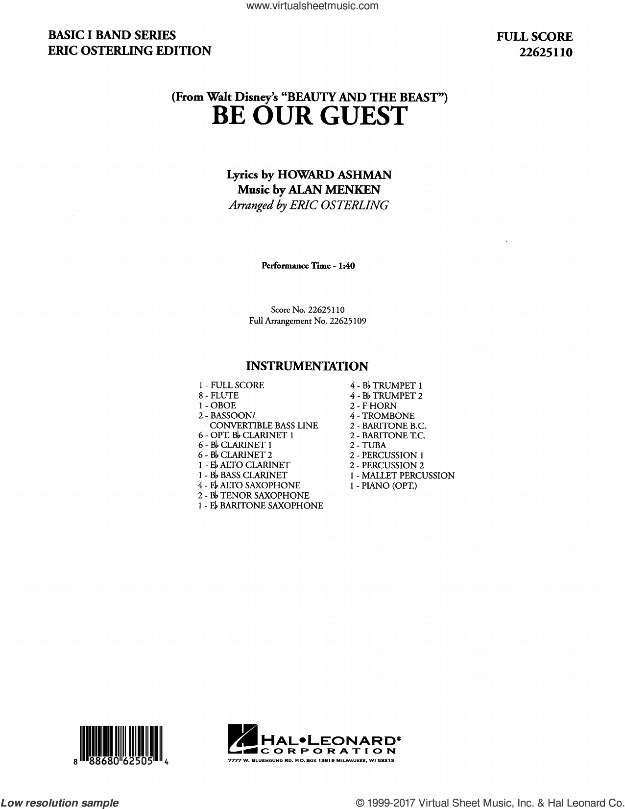 Be Our Guest (COMPLETE) sheet music for concert band by Alan Menken, Eric Osterling and Howard Ashman, intermediate skill level