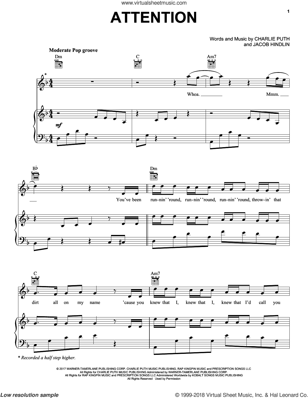 Attention sheet music for voice, piano or guitar by Charlie Puth, intermediate voice, piano or guitar. Score Image Preview.