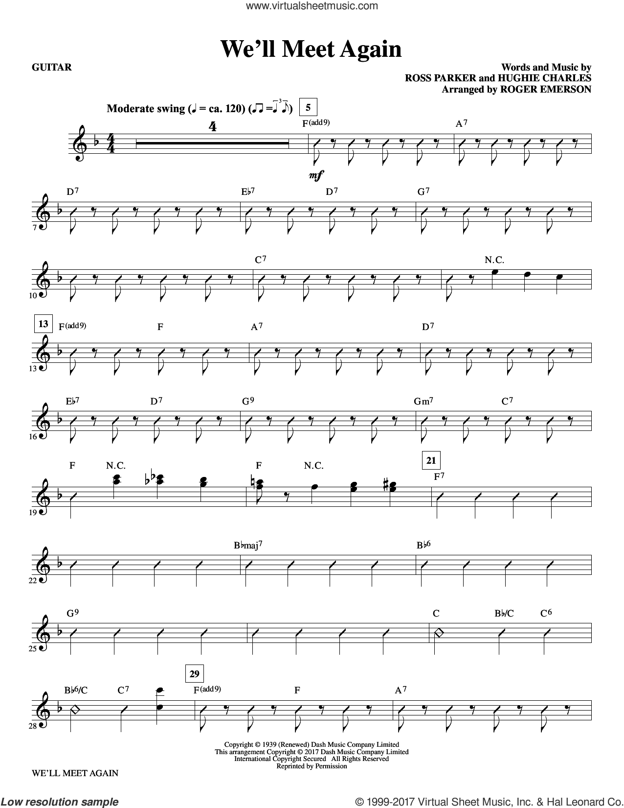 We'll Meet Again (complete set of parts) sheet music for orchestra/band by Roger Emerson, Hughie Charles and Ross Parker, intermediate orchestra/band. Score Image Preview.