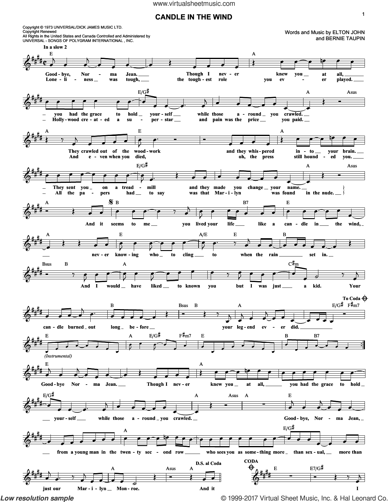 Candle In The Wind sheet music for voice and other instruments (fake book) by Elton John and Bernie Taupin, intermediate skill level