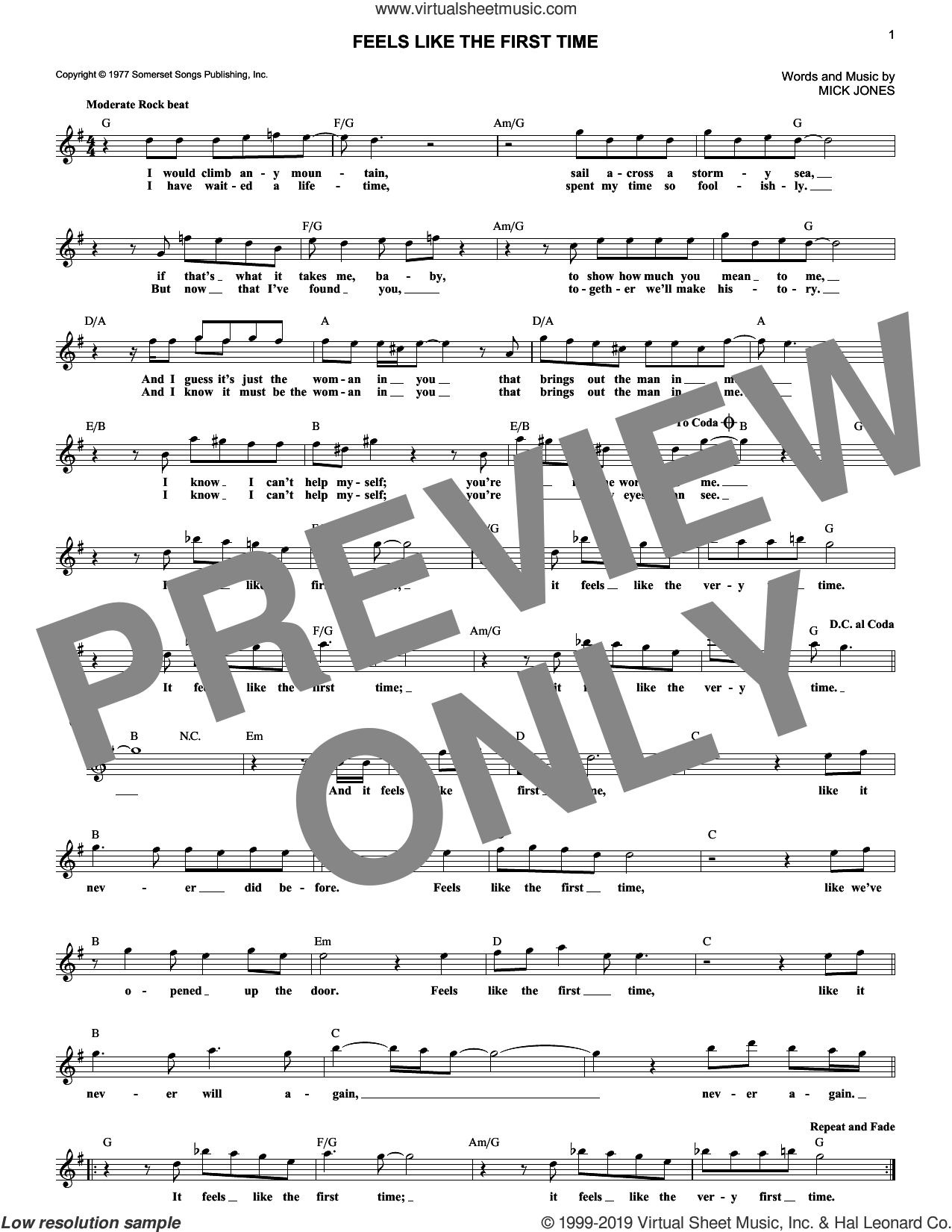 Feels Like The First Time sheet music for voice and other instruments (fake book) by Foreigner and Mick Jones, intermediate skill level