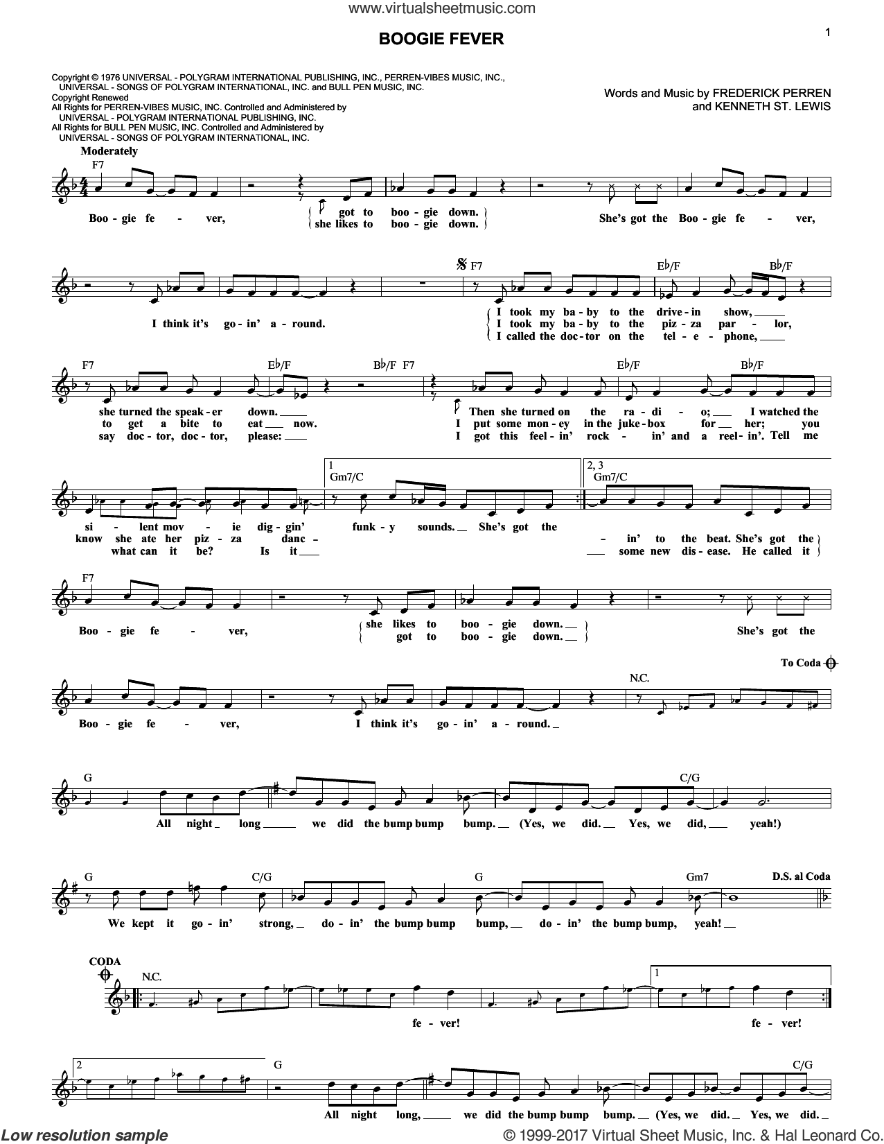 Boogie Fever sheet music for voice and other instruments (fake book) by The Sylvers, Frederick Perren and Kenneth St. Lewis, intermediate skill level