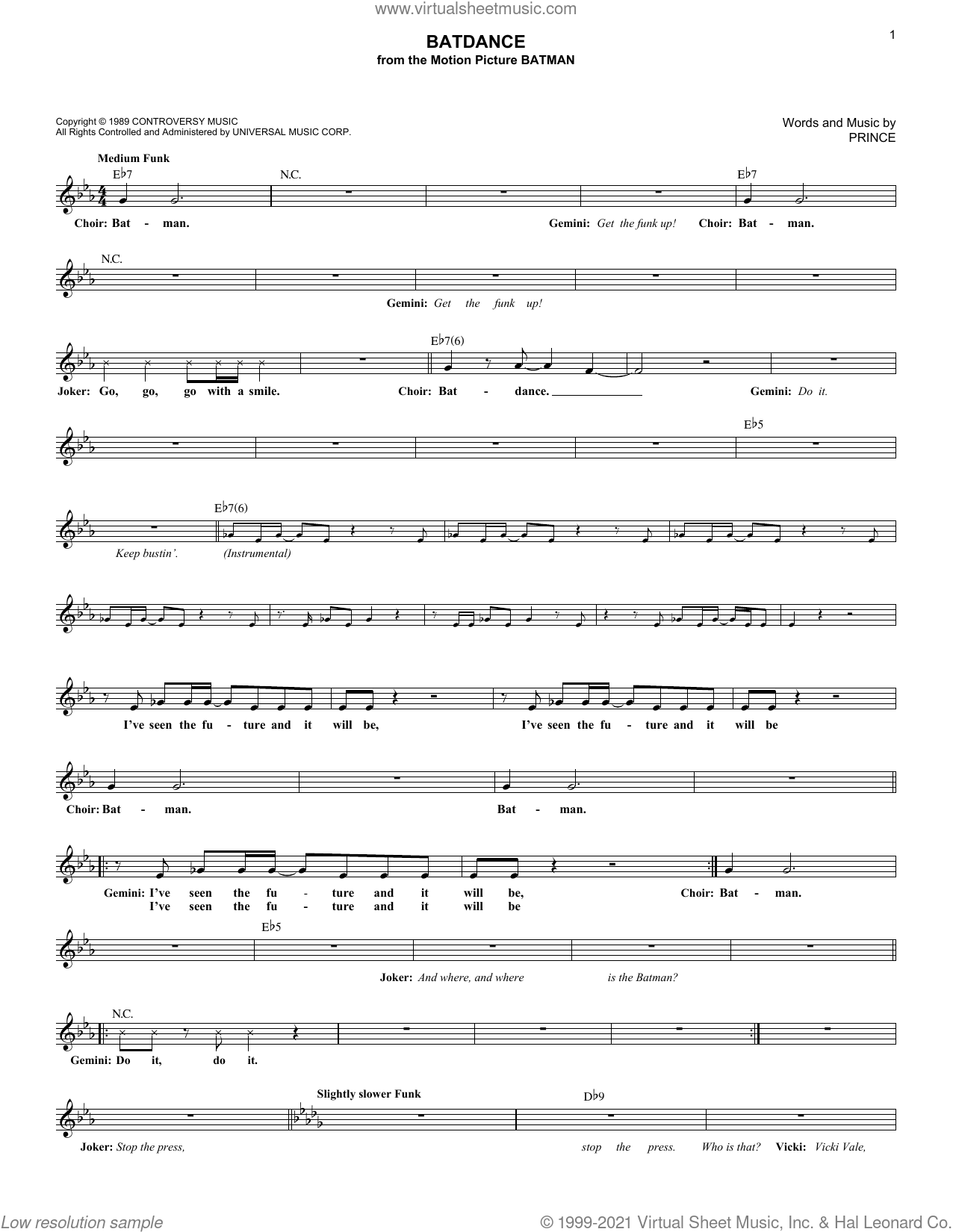 Batdance sheet music for voice and other instruments (fake book) by Prince, intermediate skill level