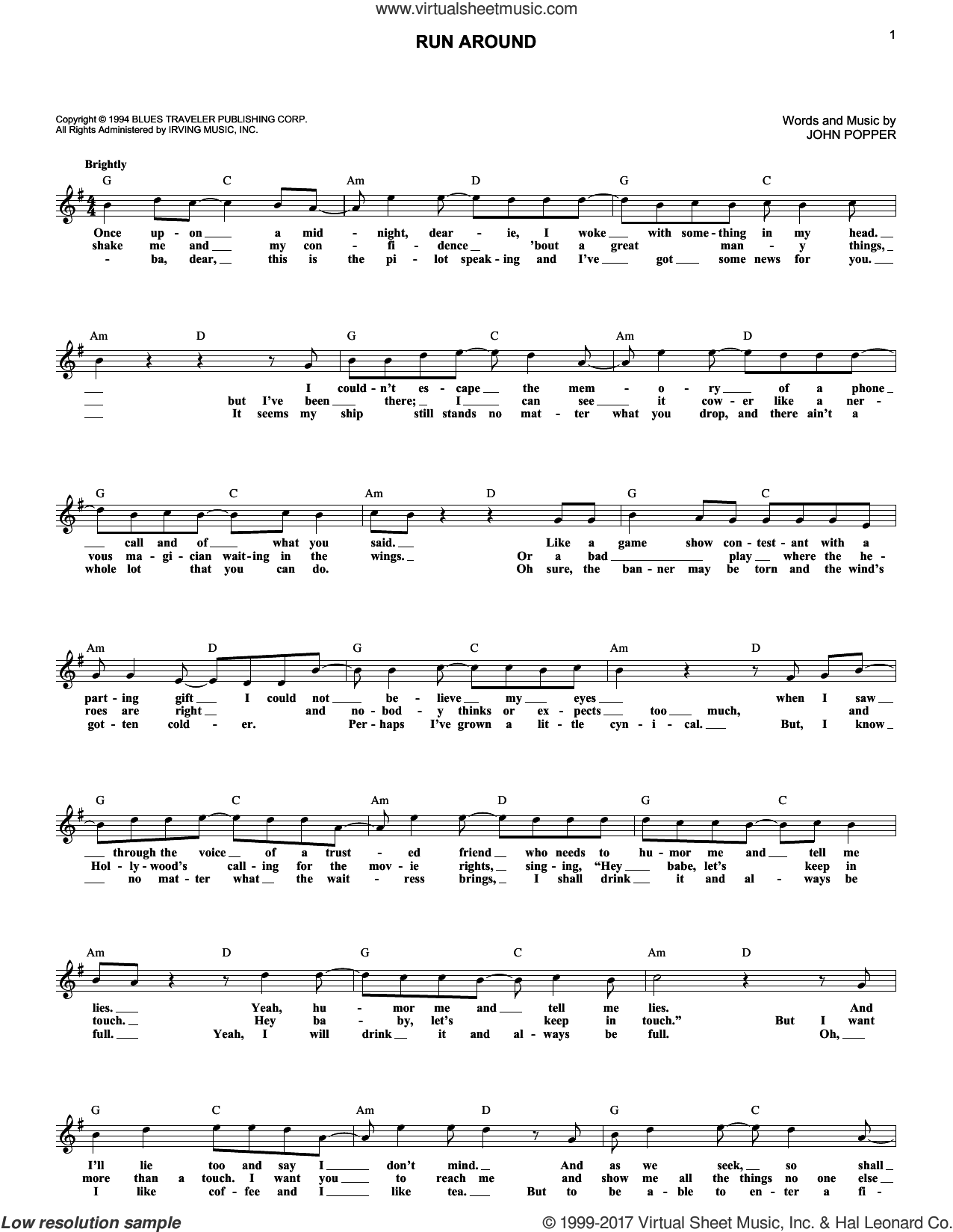 Run-Around sheet music for voice and other instruments (fake book) by Blues Traveler and John Popper, intermediate