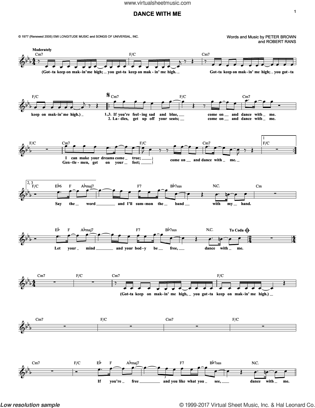 Dance With Me sheet music for voice and other instruments (fake book) by Robert Rans and Pete Brown. Score Image Preview.