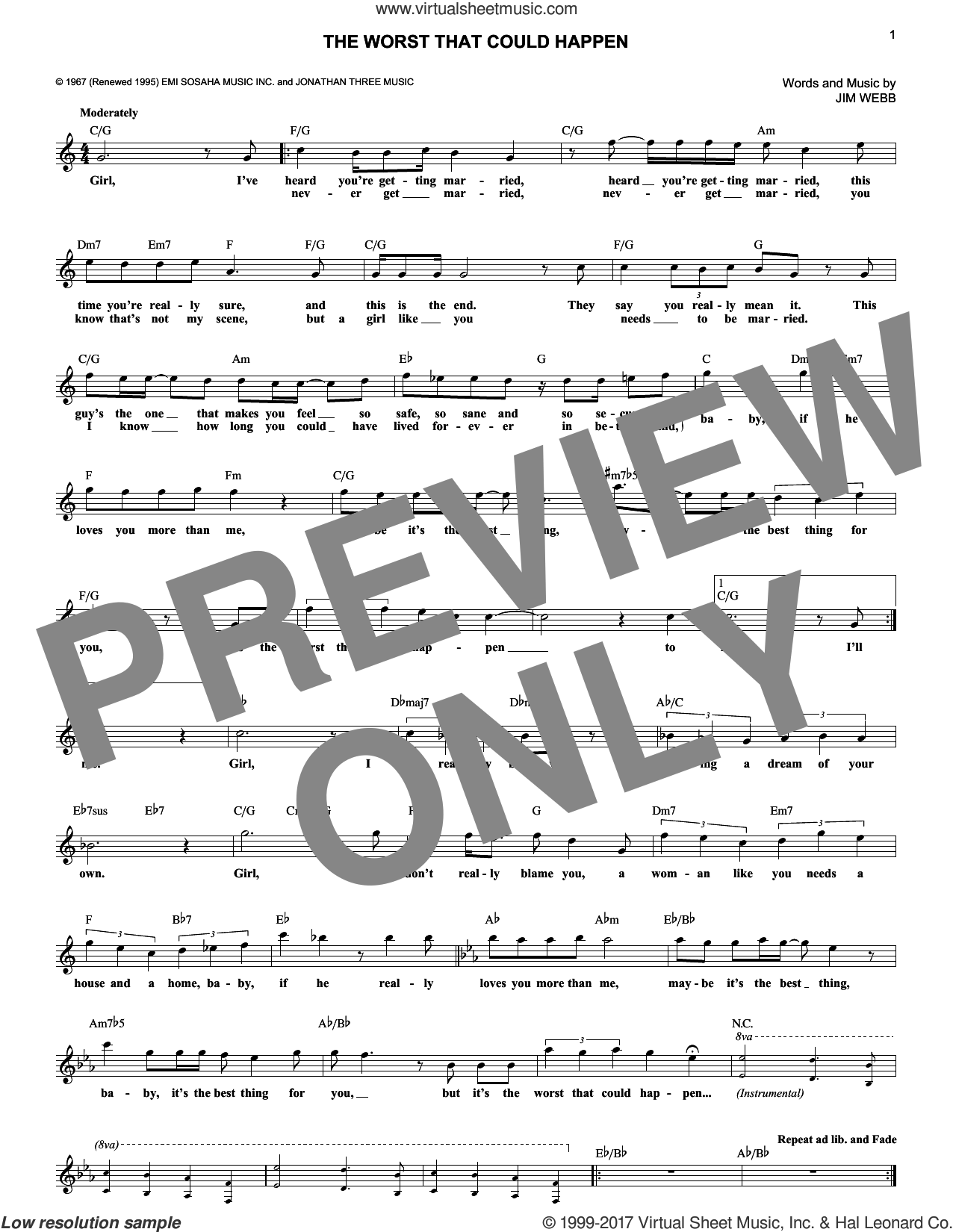 The Worst That Could Happen sheet music for voice and other instruments (fake book) by Brooklyn Bridge and Jimmy Webb. Score Image Preview.