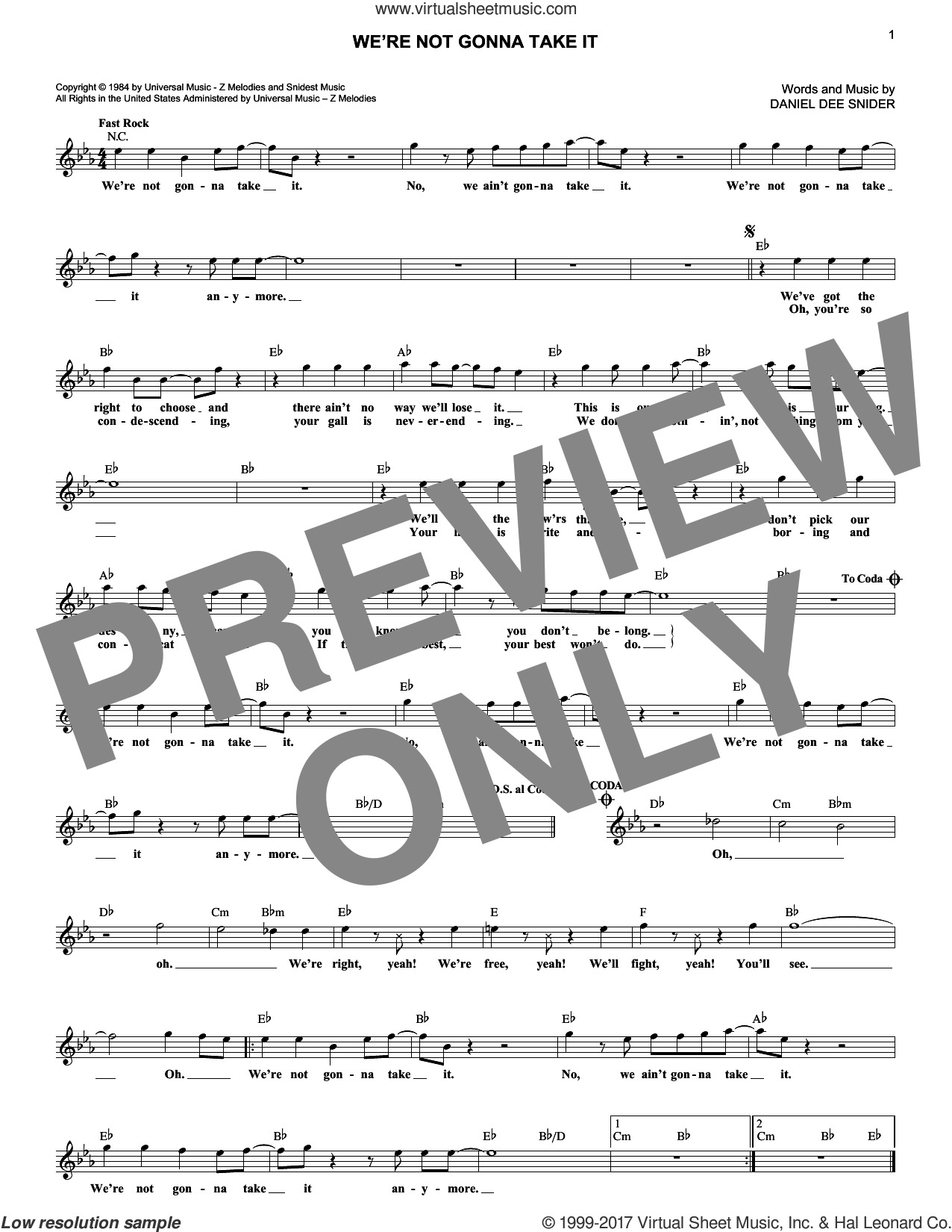 We're Not Gonna Take It sheet music for voice and other instruments (fake book) by Twisted Sister and Dee Snider, intermediate skill level