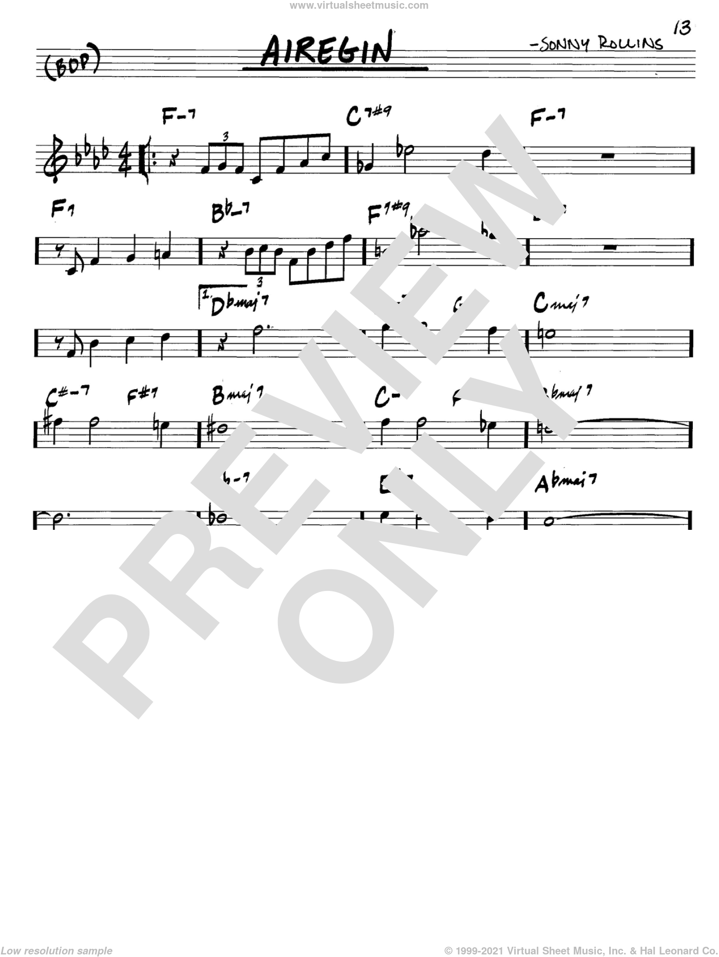 Airegin sheet music for voice and other instruments (C) by Sonny Rollins