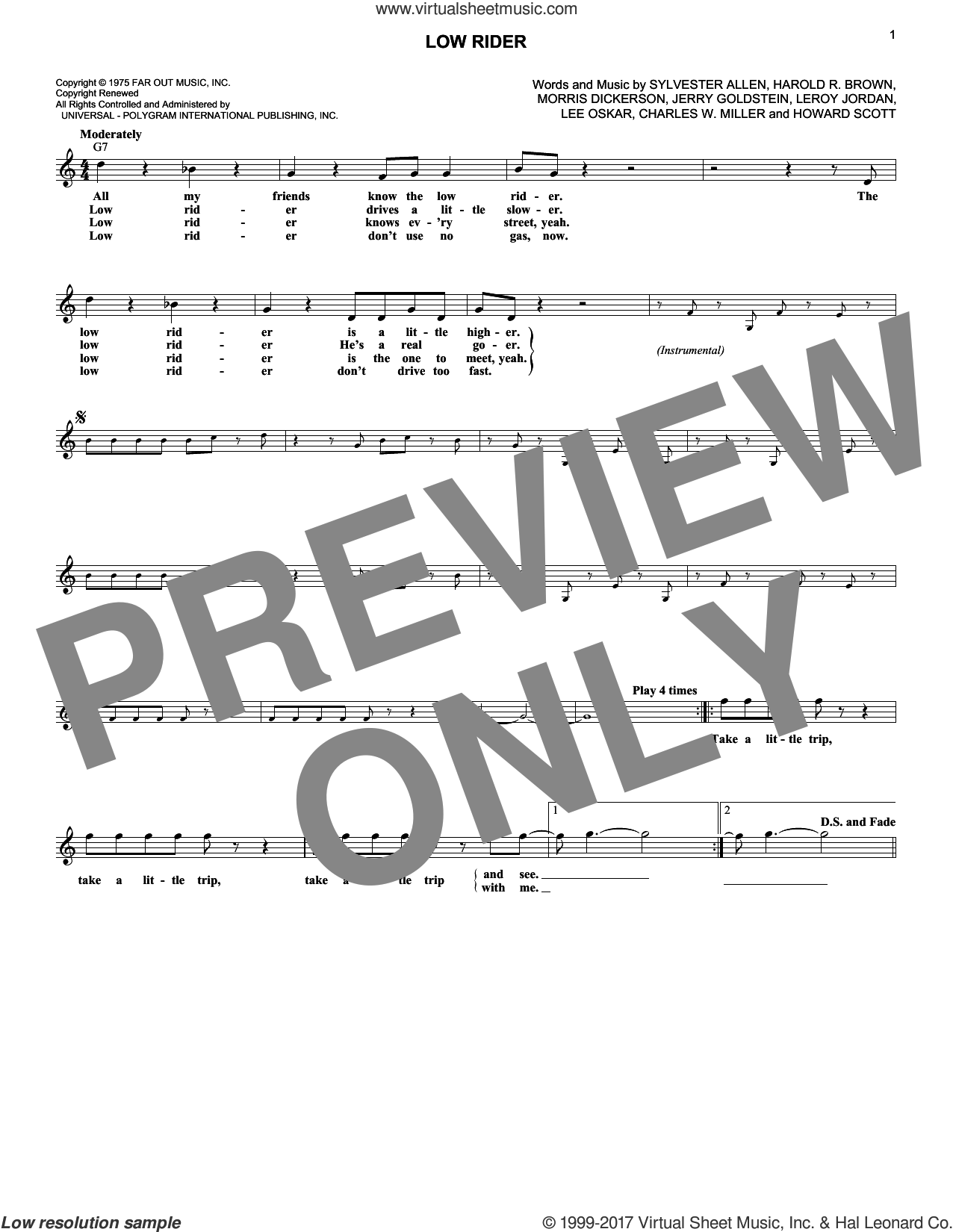 Low Rider sheet music for voice and other instruments (fake book) by War, intermediate. Score Image Preview.